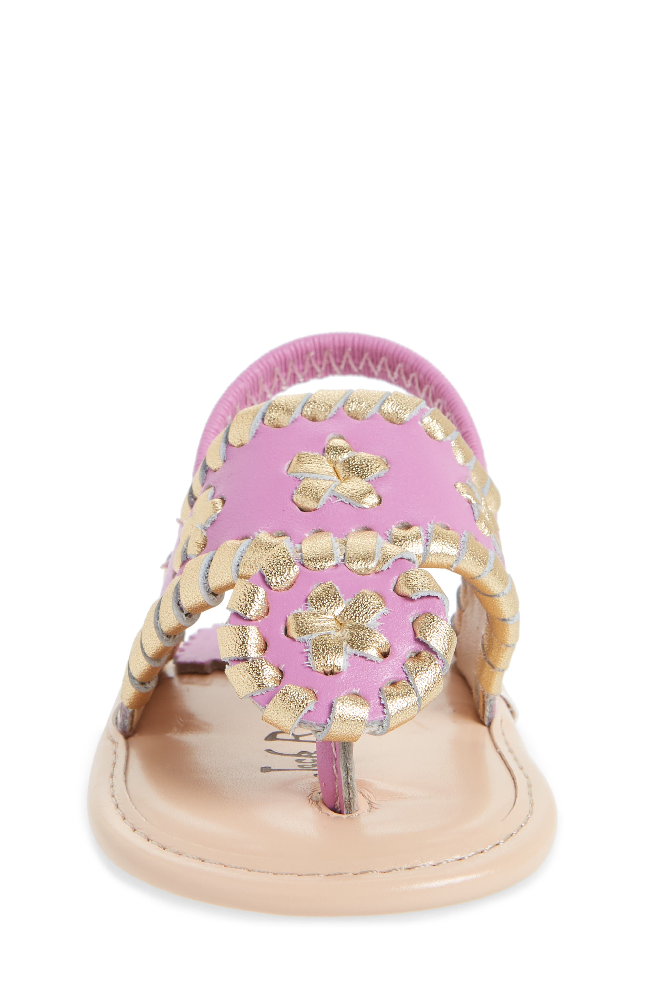 Hollis Sandal,                             Alternate thumbnail 4, color,                             Lavender Pink/ Gold Leather