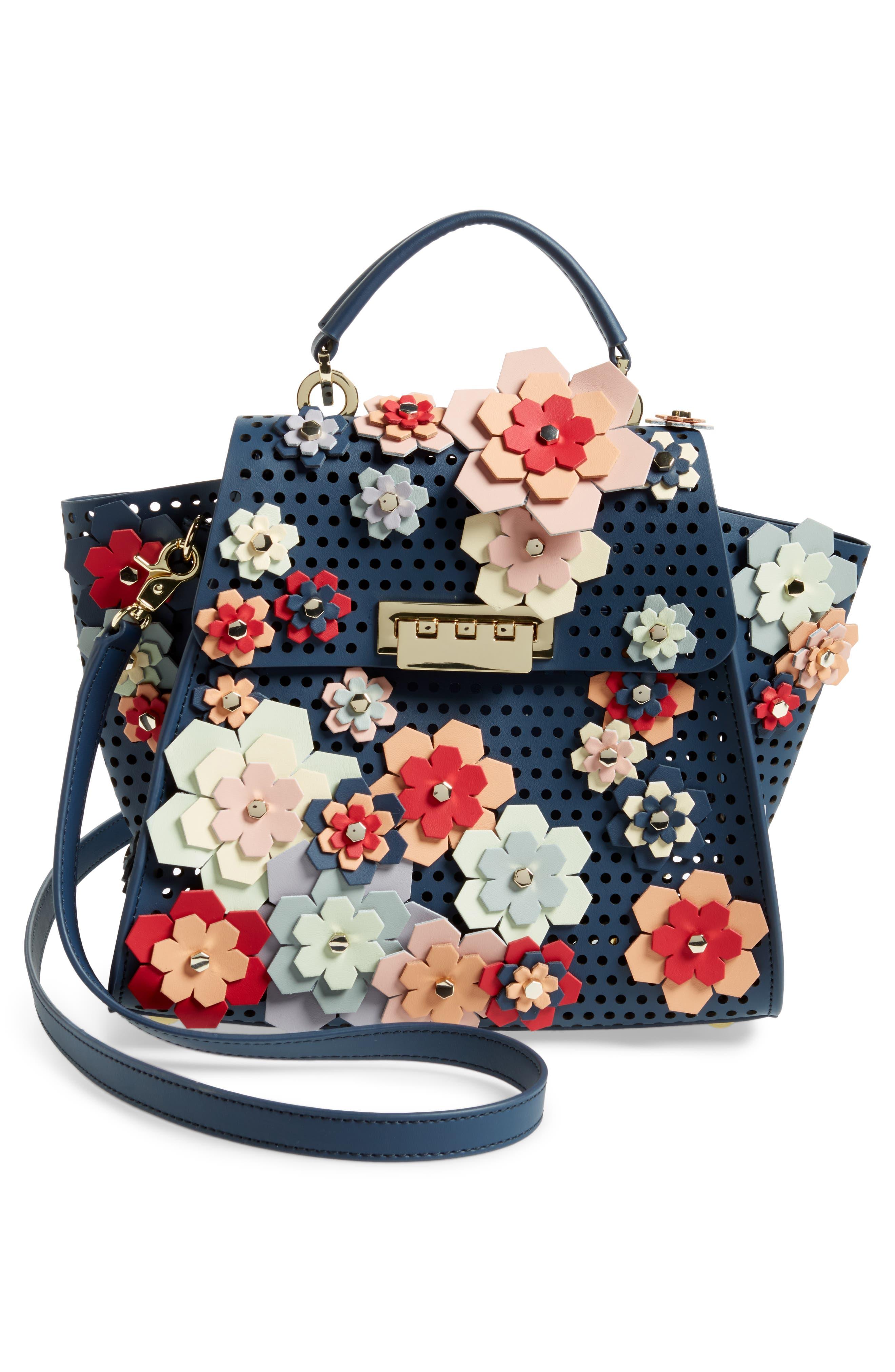 Eartha Kit Convertible Calfskin Leather Backpack,                             Alternate thumbnail 4, color,                             Blue/ Rainbow