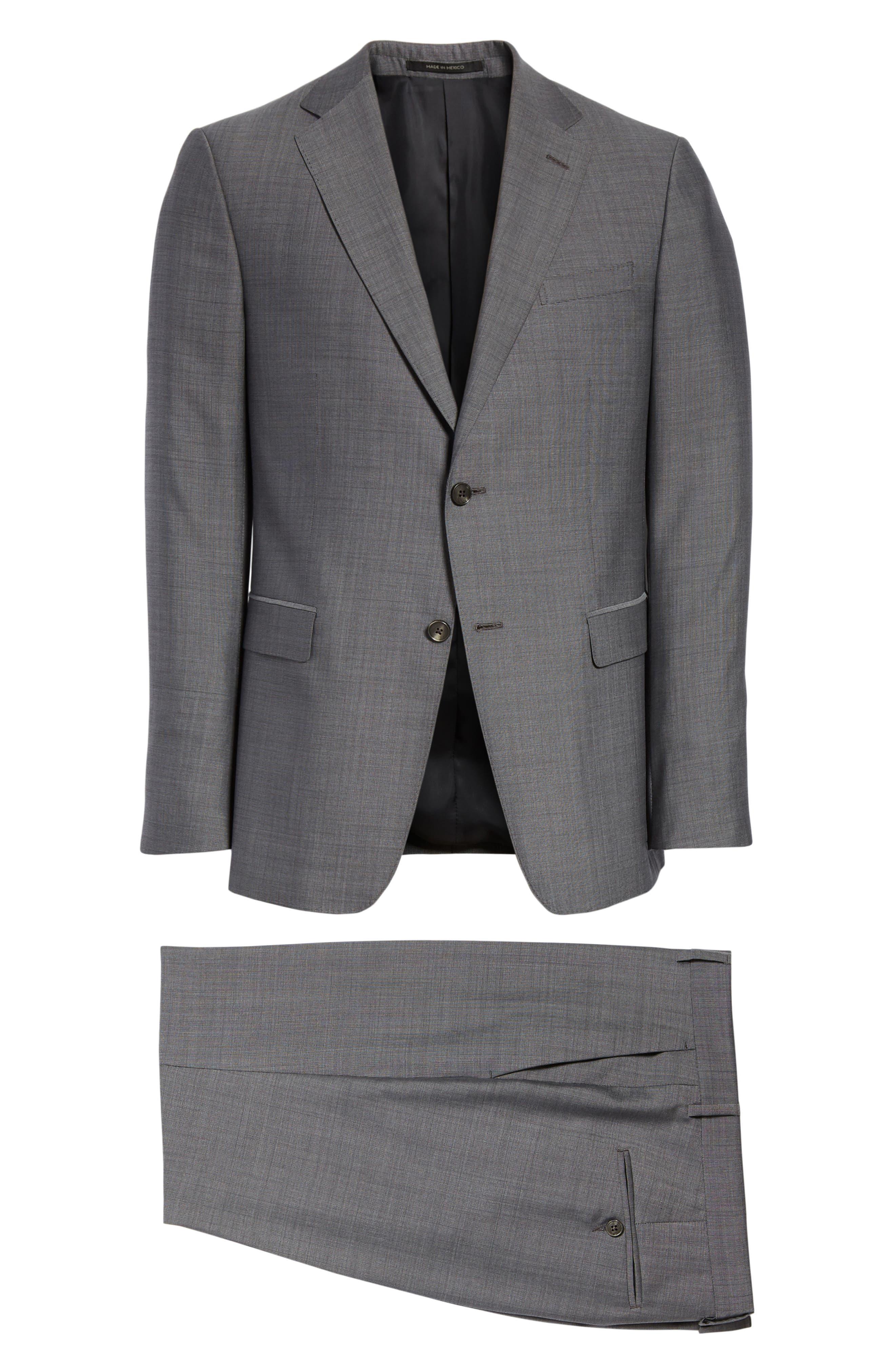 Trim Fit Solid Wool & Silk Suit,                             Alternate thumbnail 8, color,                             Grey