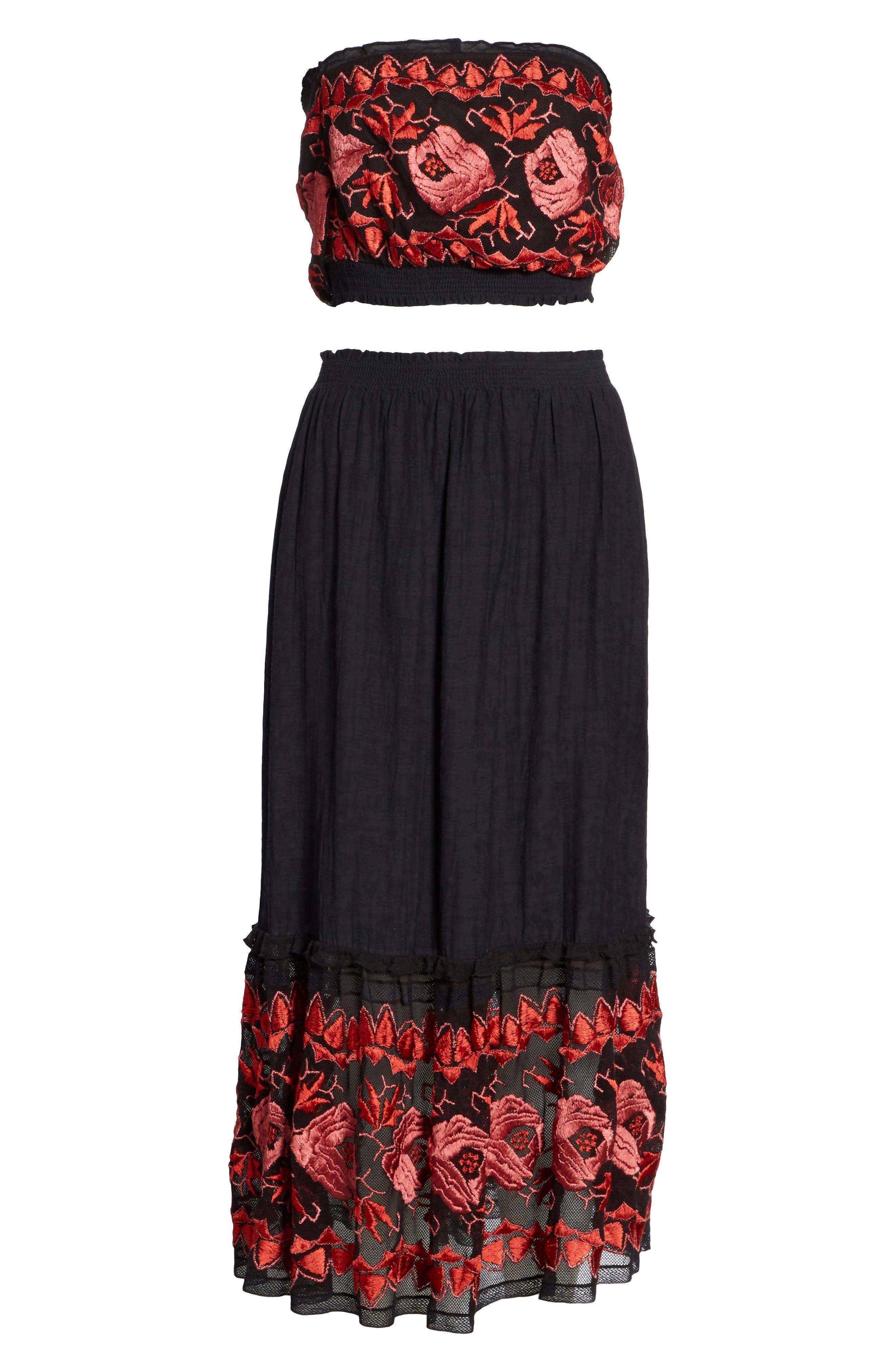 Rosebud Top & Skirt,                             Alternate thumbnail 6, color,                             Black Combo
