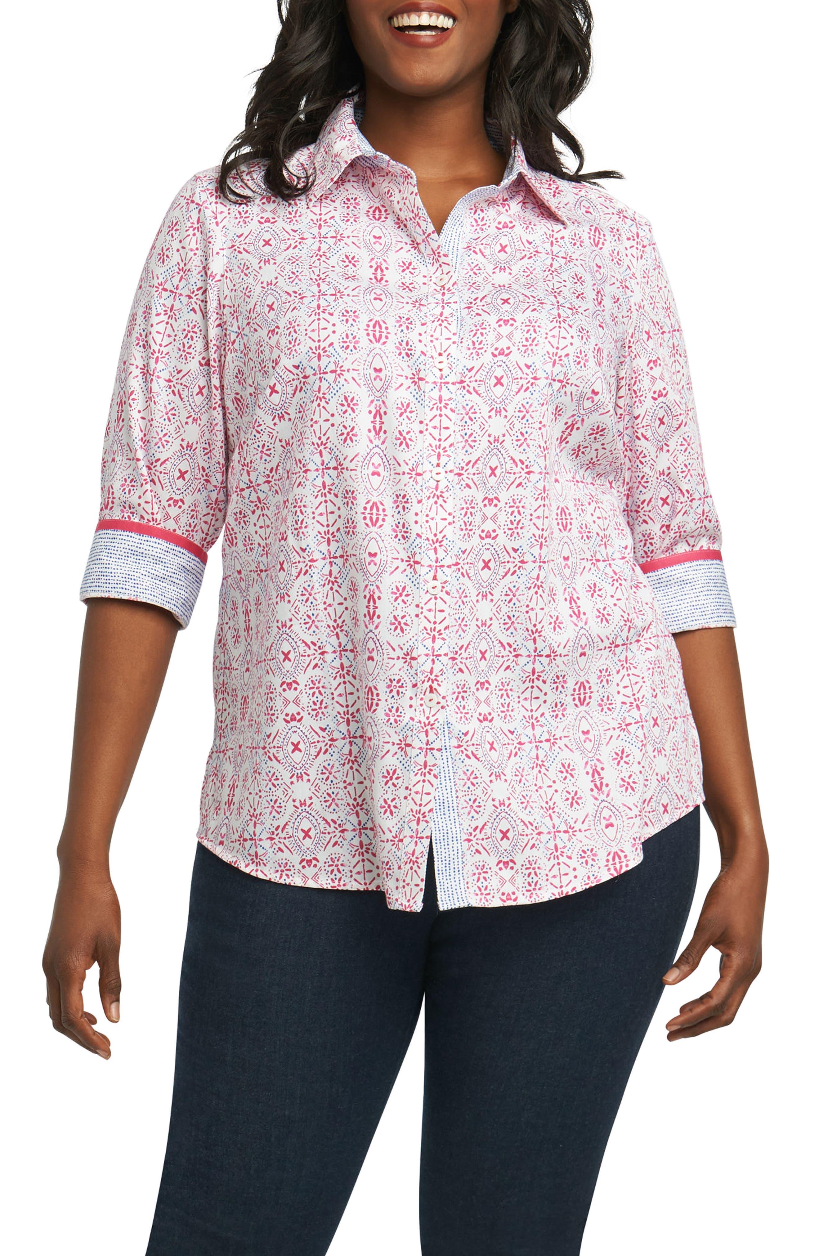 Foxcroft Ava Tile Print Shirt (Plus Size)