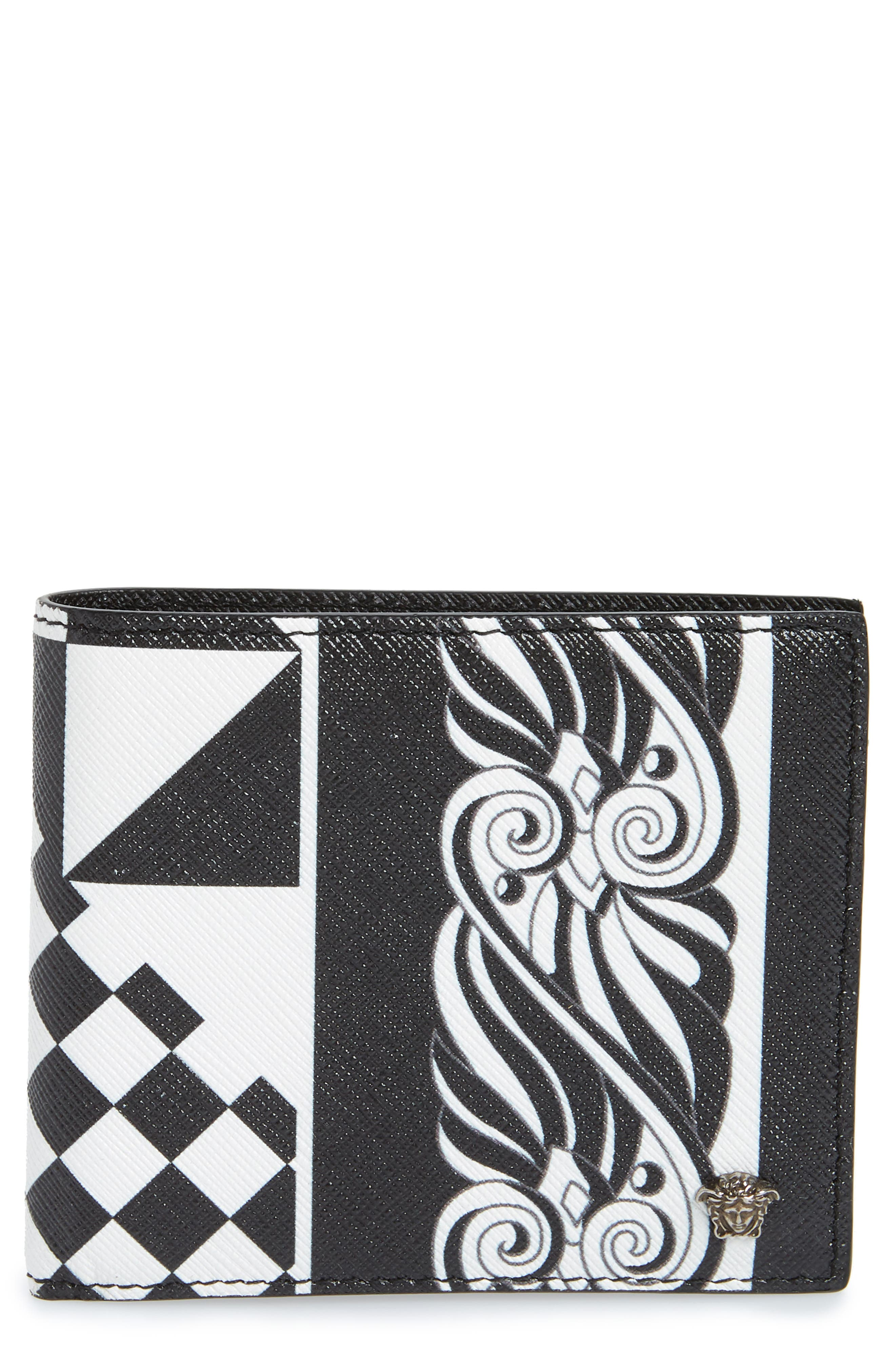 Versace First Line Baroque Print Leather Wallet