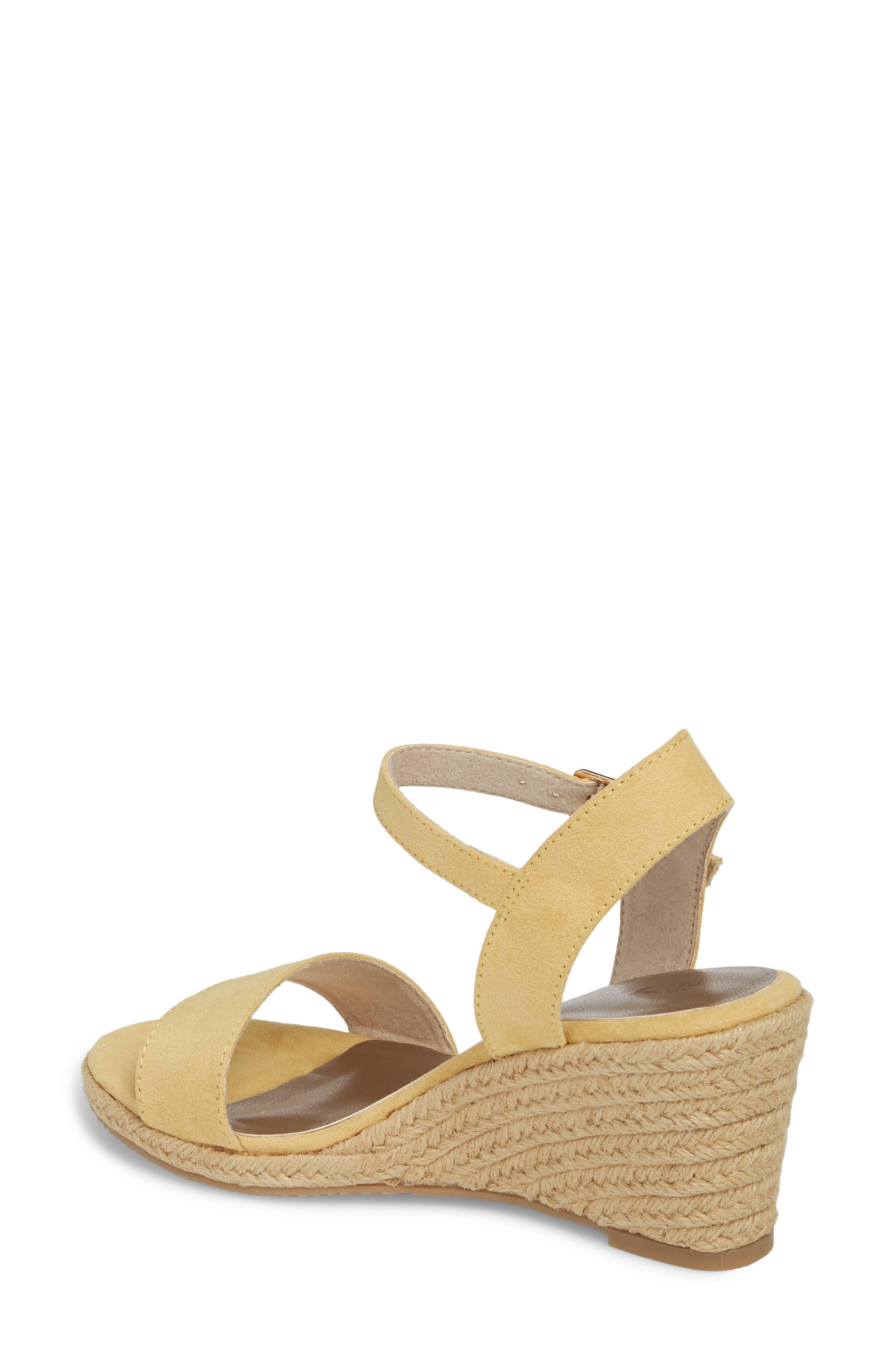 Livia Espadrille Wedge Sandal,                             Alternate thumbnail 2, color,                             Saffron Fabric