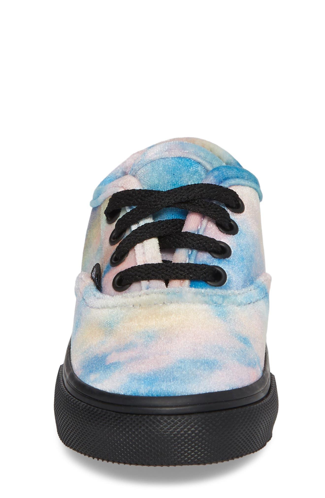 Authentic Velvet Tie Dye Sneaker,                             Alternate thumbnail 4, color,                             Black/ Multi Velvet Tie Dye