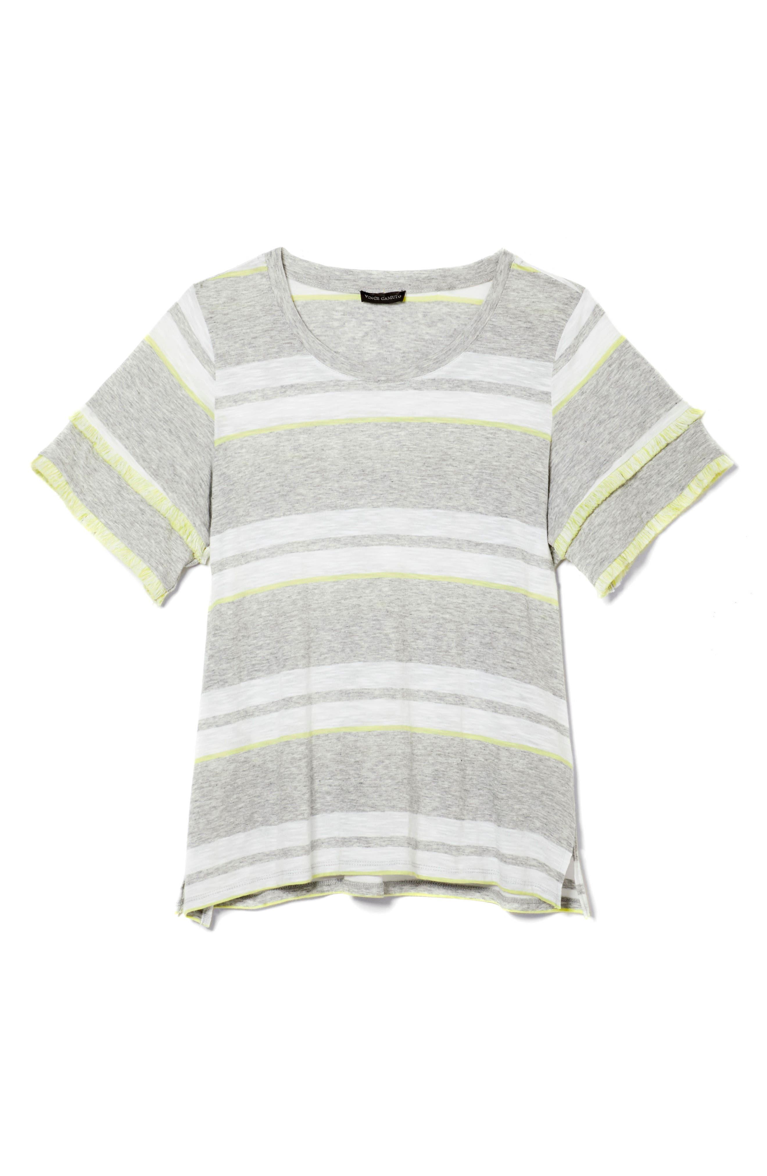 Fringe Sleeve Stadium Stripe Cotton Blend Top,                             Alternate thumbnail 3, color,                             Grey Heather