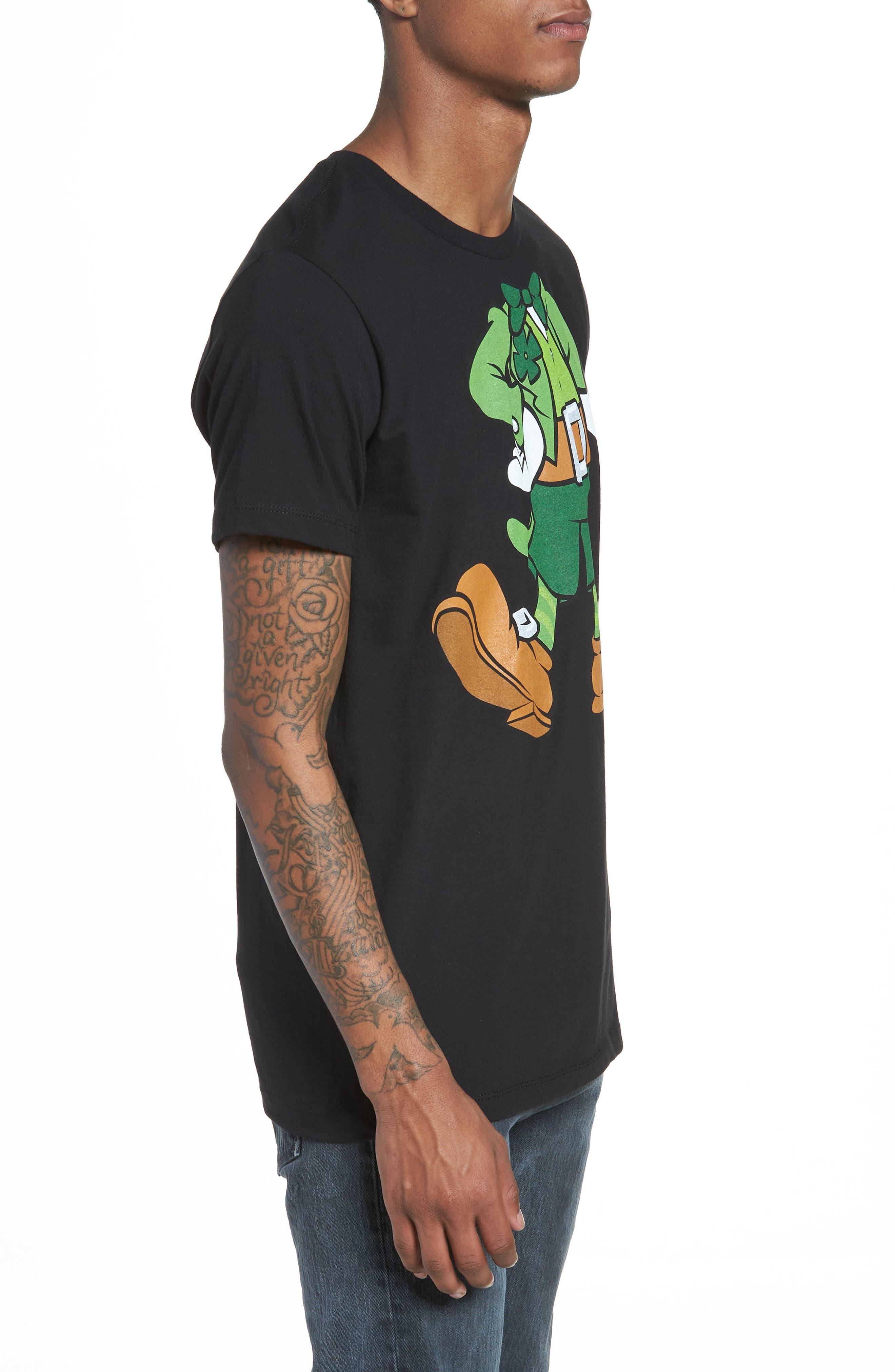I'm Lucky Graphic T-Shirt,                             Alternate thumbnail 3, color,                             Black Tee Leprechaun