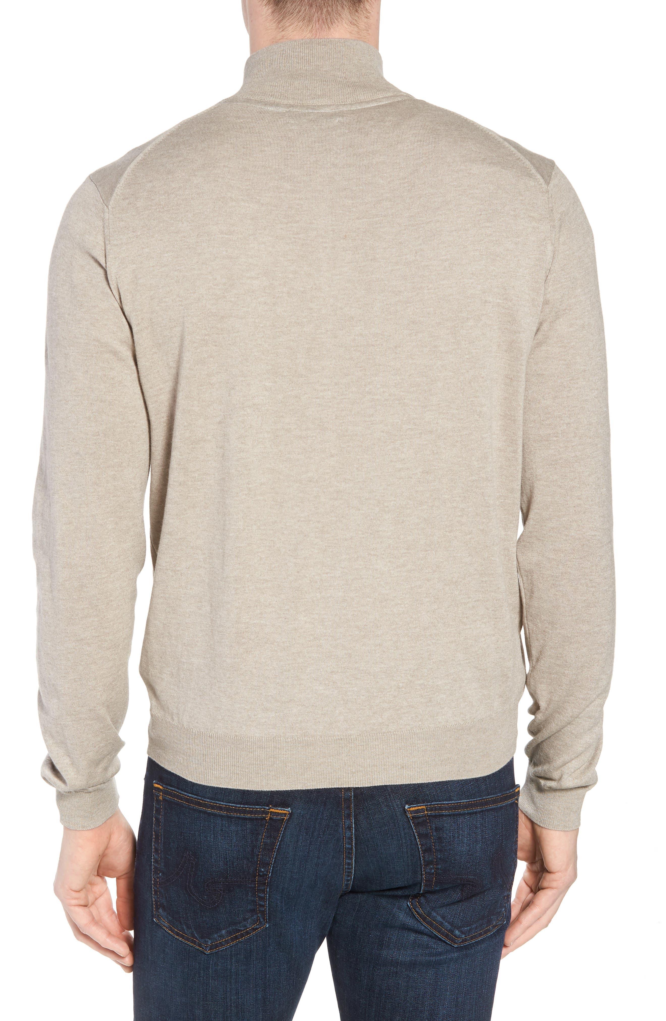 Cotton & Silk Quarter Zip Pullover,                             Alternate thumbnail 2, color,                             Dune