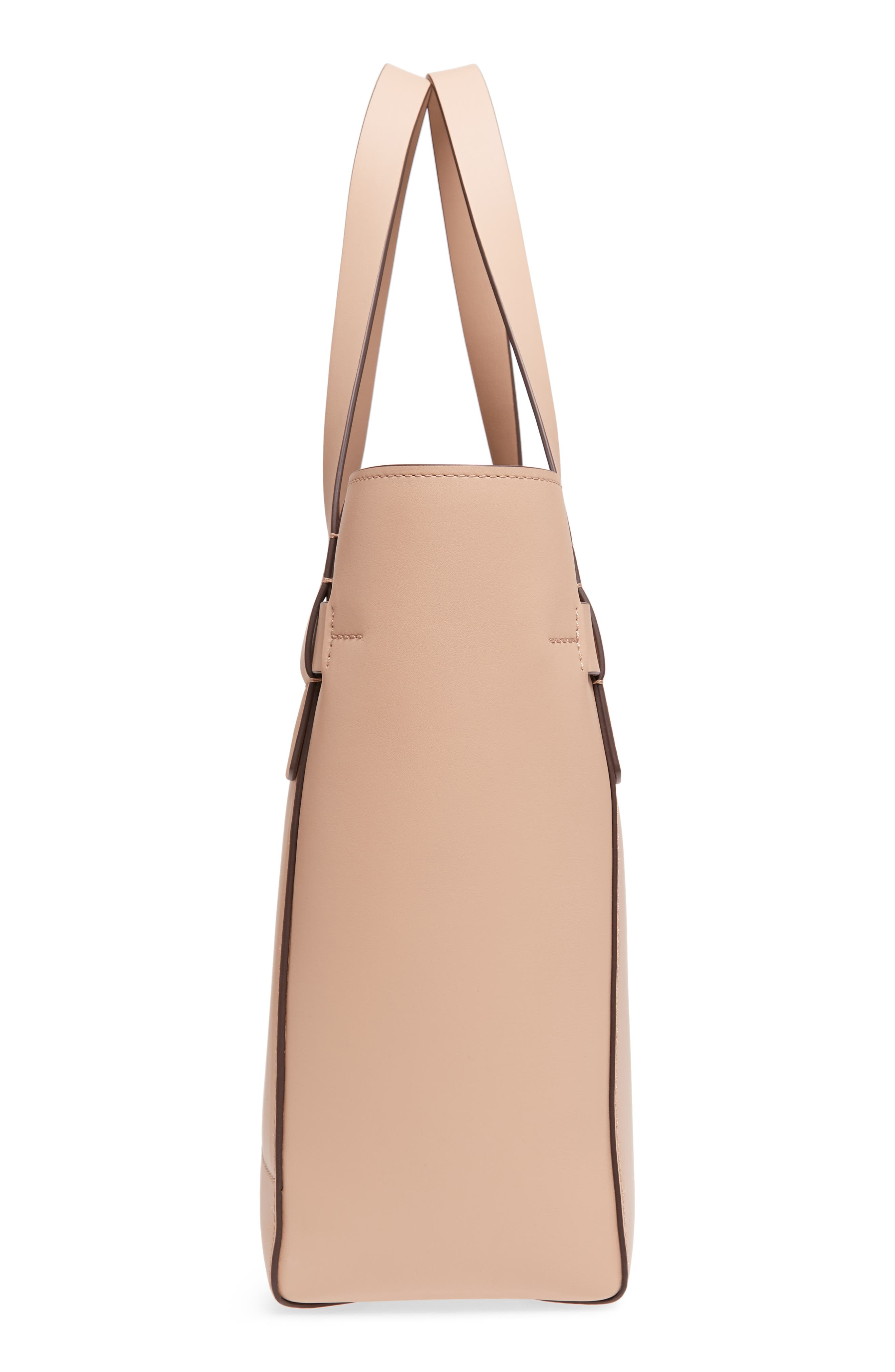 Gemini Link Leather Tote,                             Alternate thumbnail 5, color,                             Perfect Sand