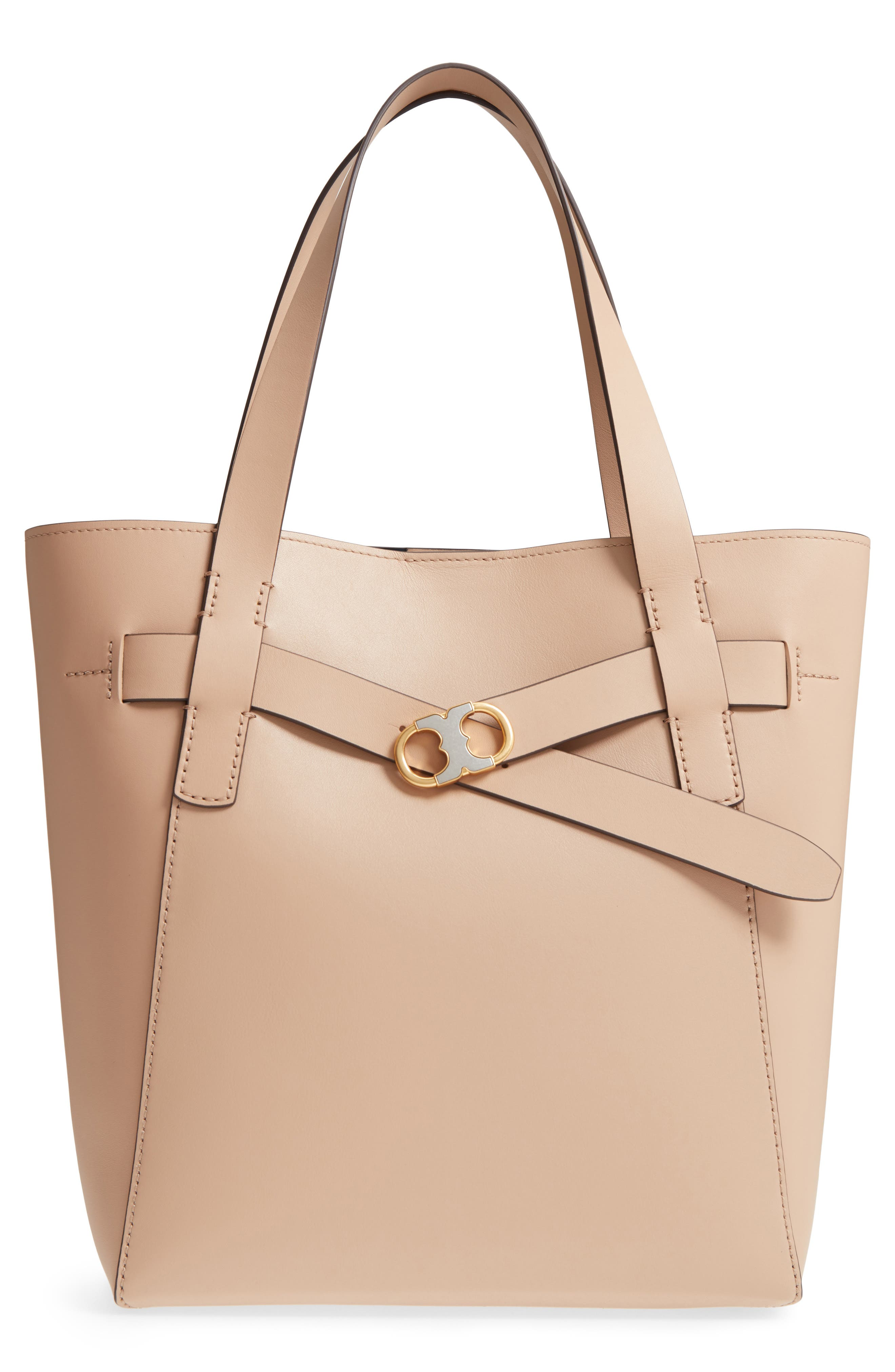 Gemini Link Leather Tote,                             Main thumbnail 1, color,                             Perfect Sand