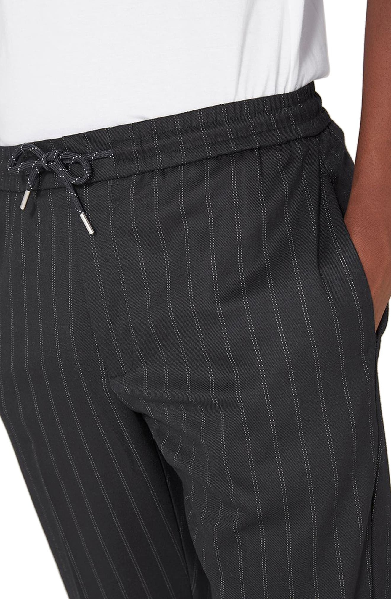 Pinstripe Crop Smart Joggers,                             Alternate thumbnail 3, color,                             Dark Blue
