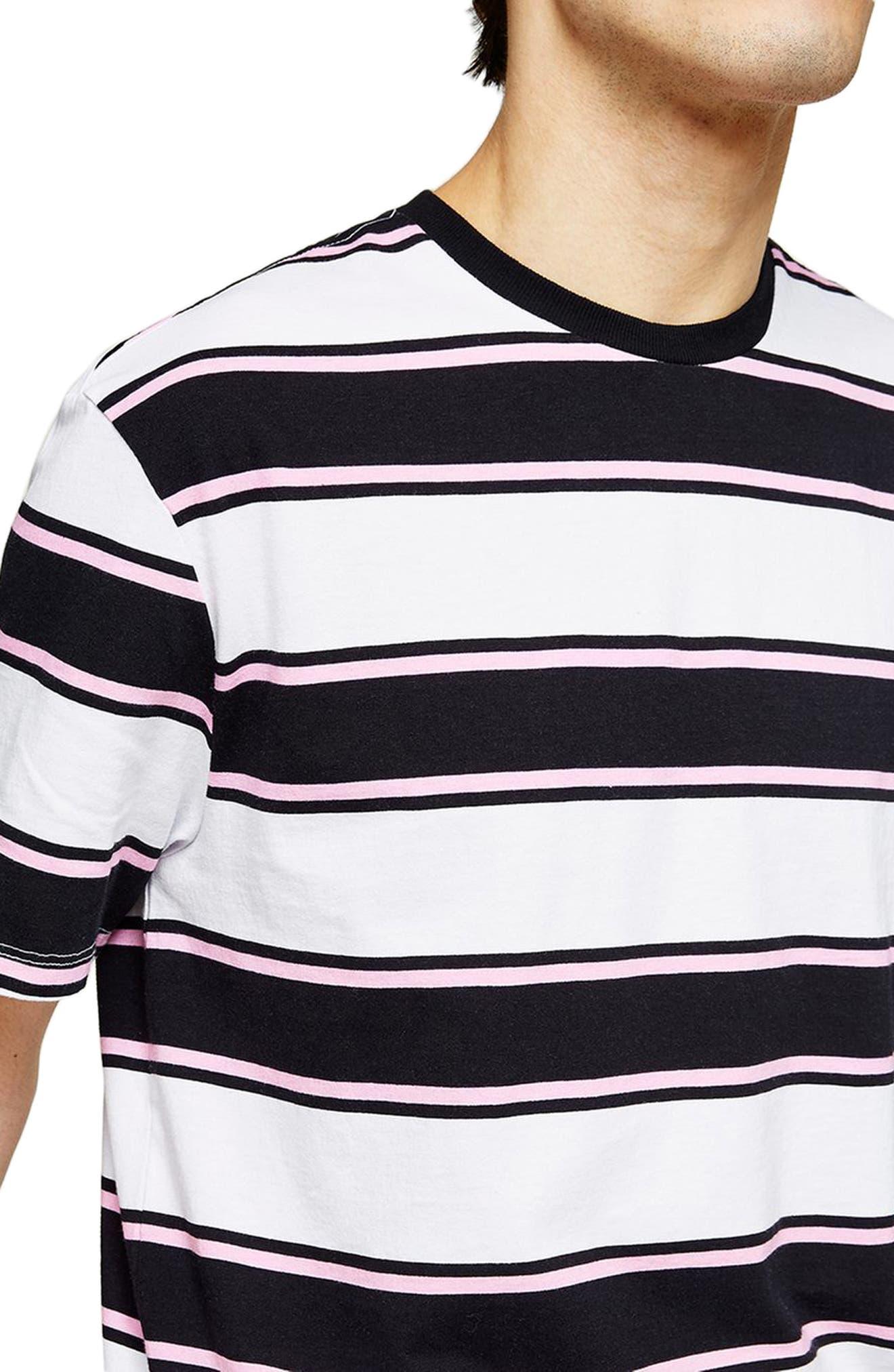 Stripe Crewneck T-Shirt,                             Alternate thumbnail 3, color,                             White Multi