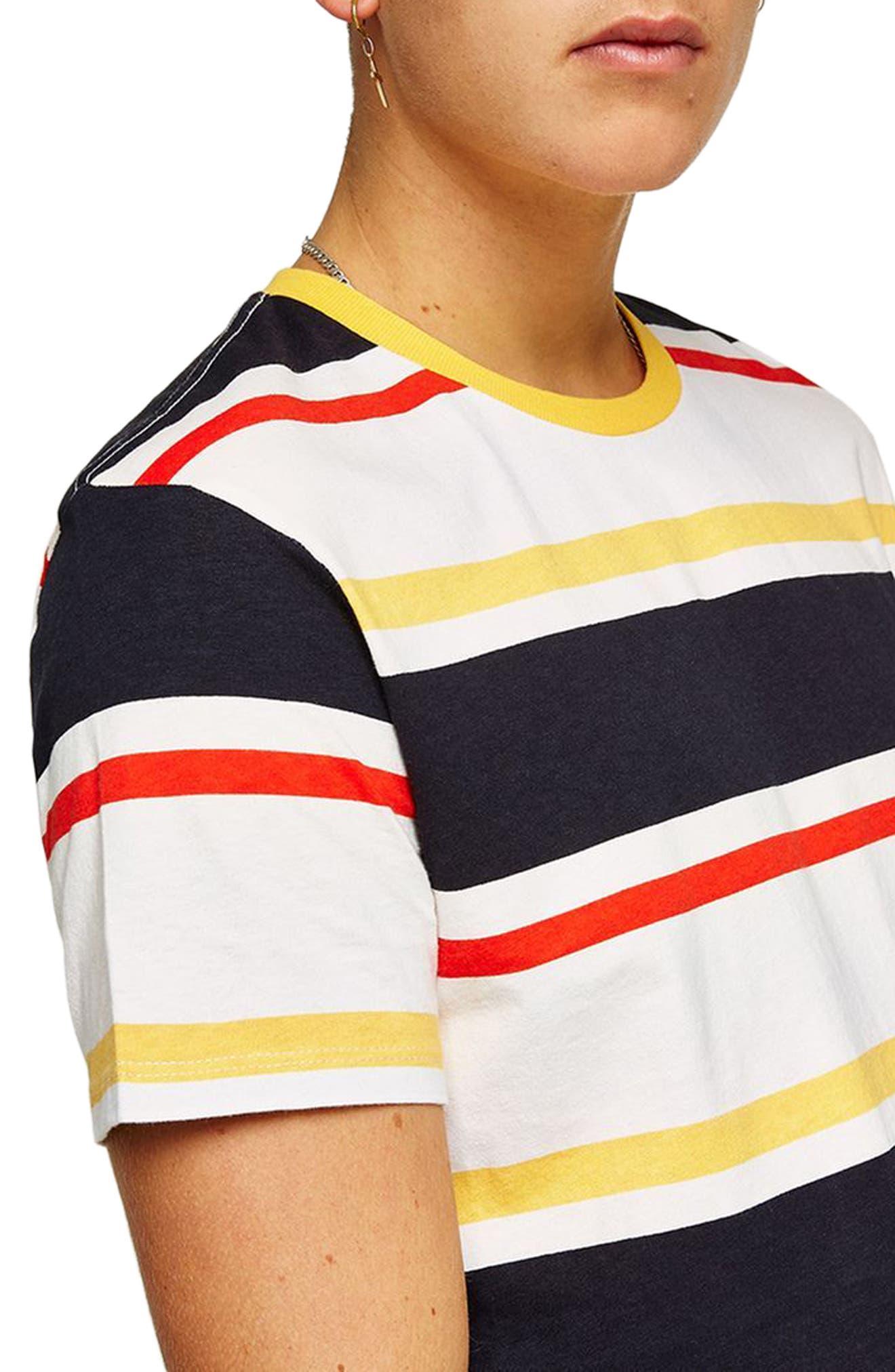 Slim Fit Stripe T-Shirt,                             Alternate thumbnail 3, color,                             Yellow Multi