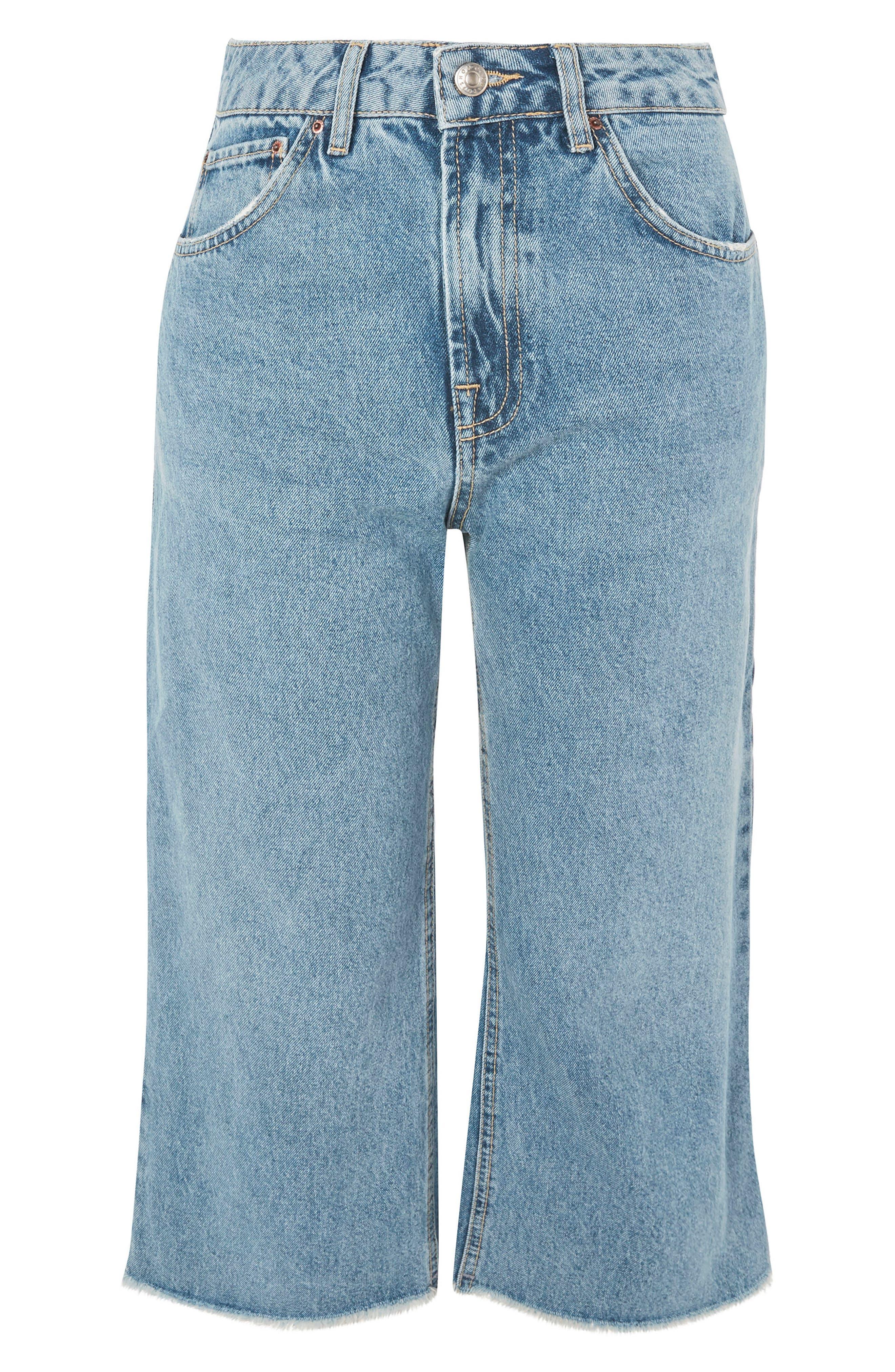 Petite Wide Leg Crop Jeans,                             Alternate thumbnail 4, color,                             Mid Denim