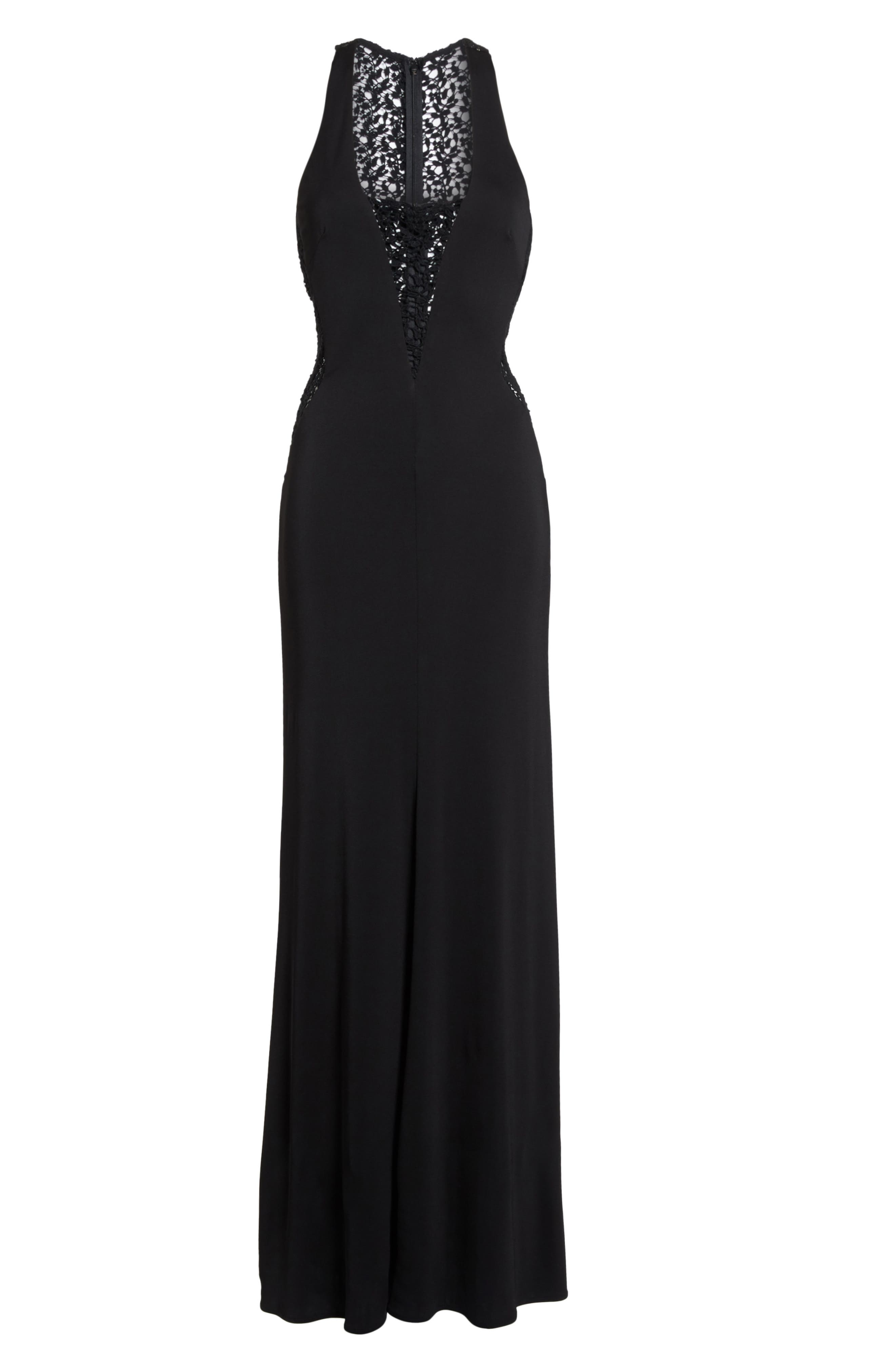 Riley Lace Inset Gown,                             Alternate thumbnail 6, color,                             Black