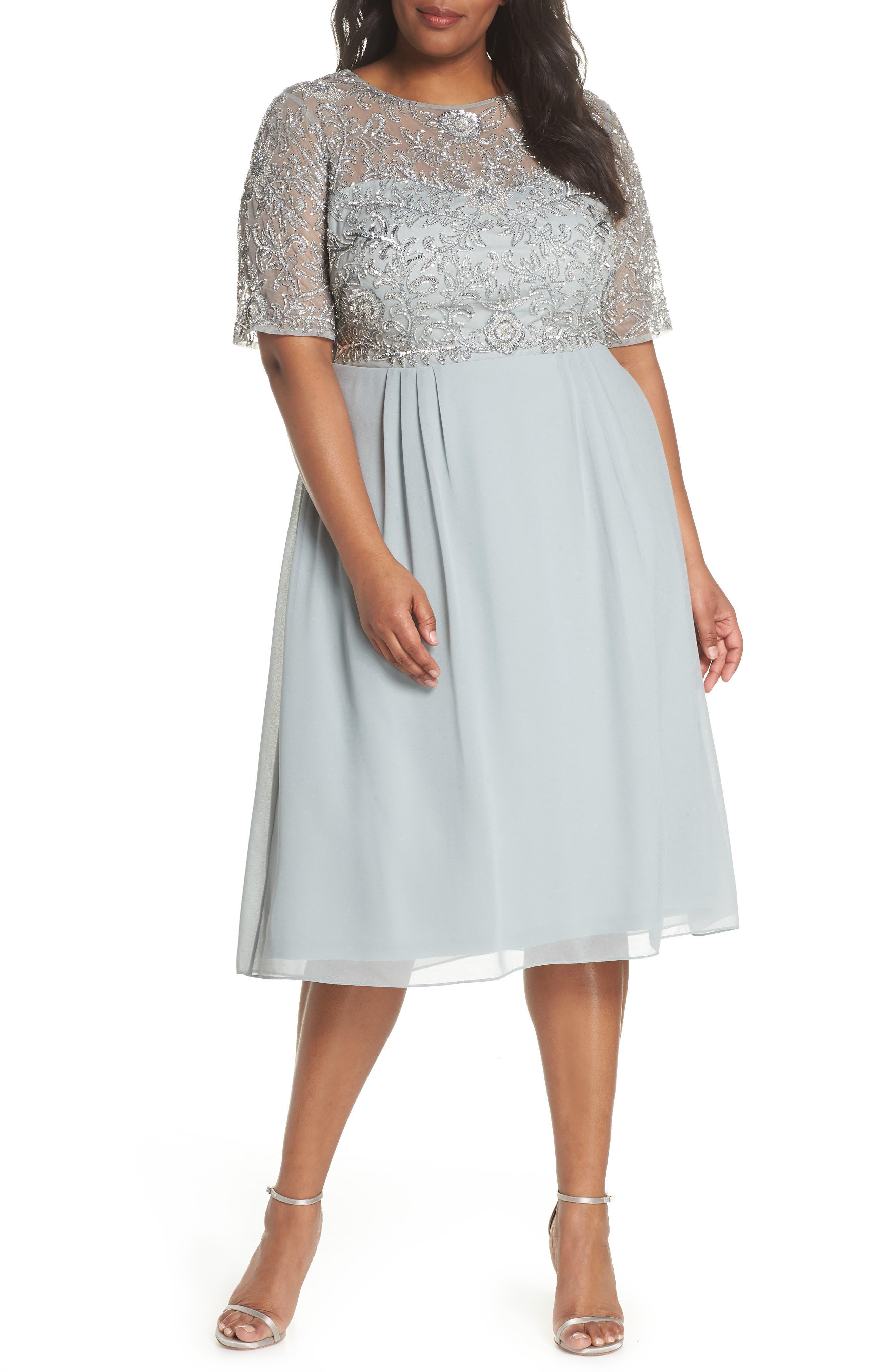 Beaded Midi Dress,                             Main thumbnail 1, color,                             Blue Mist
