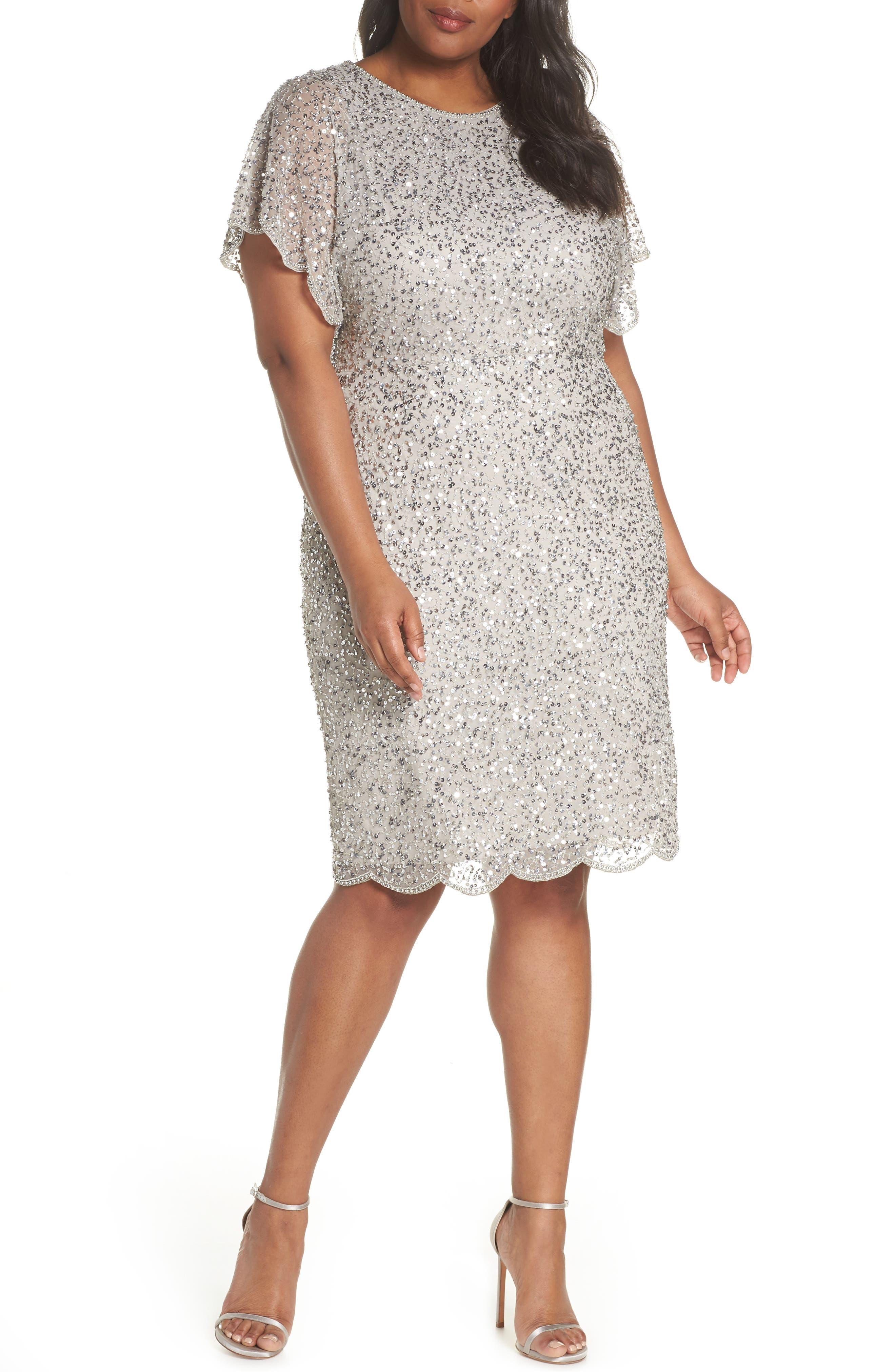 Beaded Flutter Sleeve Sheath Dress,                         Main,                         color, Silver