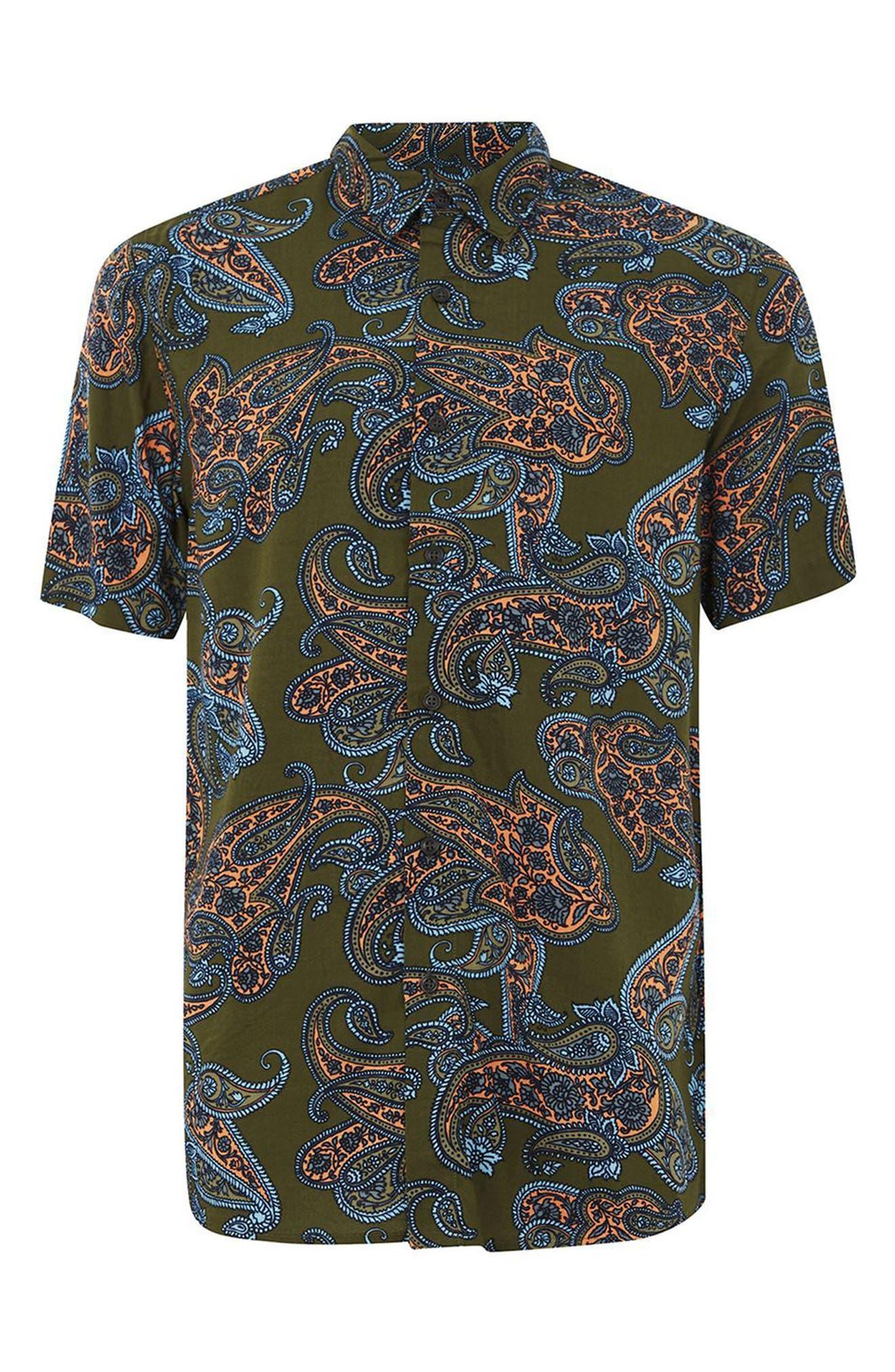 Paisley Print Shirt,                             Alternate thumbnail 4, color,                             Olive Multi