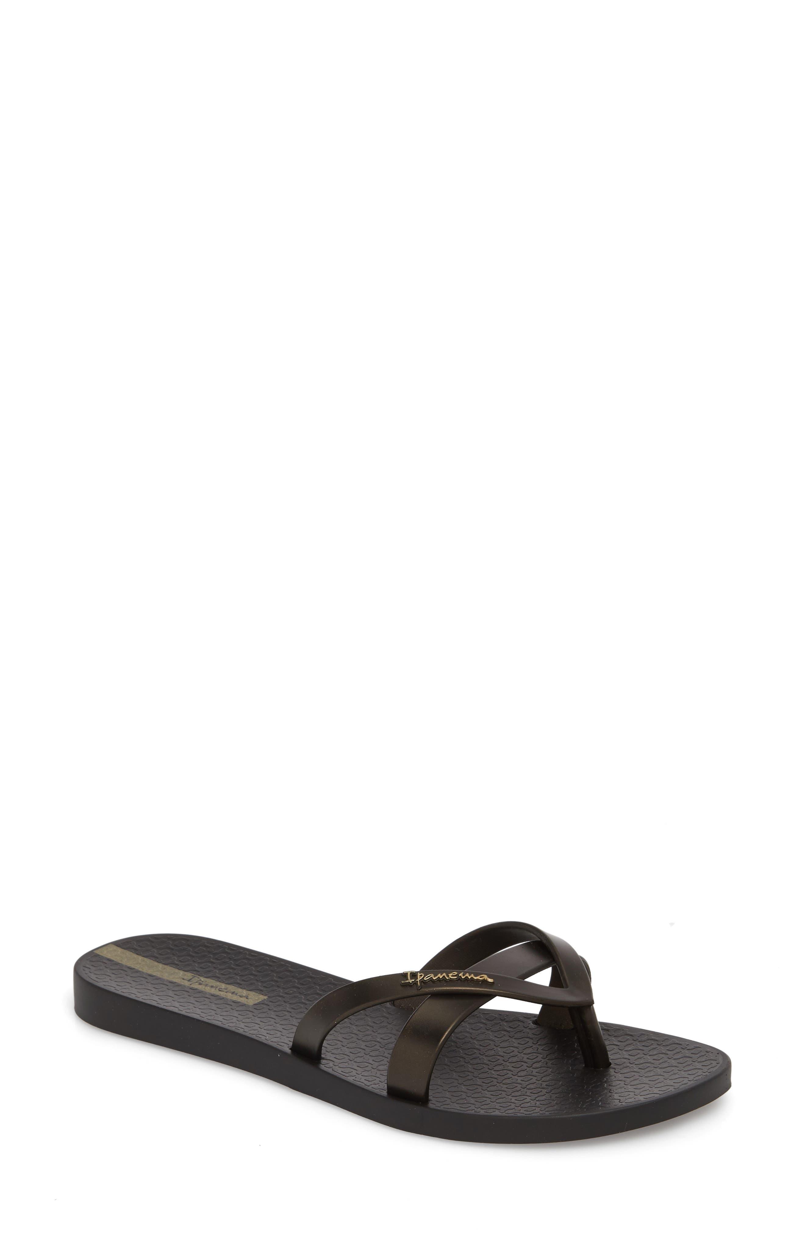 'Kirei Silk' Flip Flop,                         Main,                         color, Gold/ Black