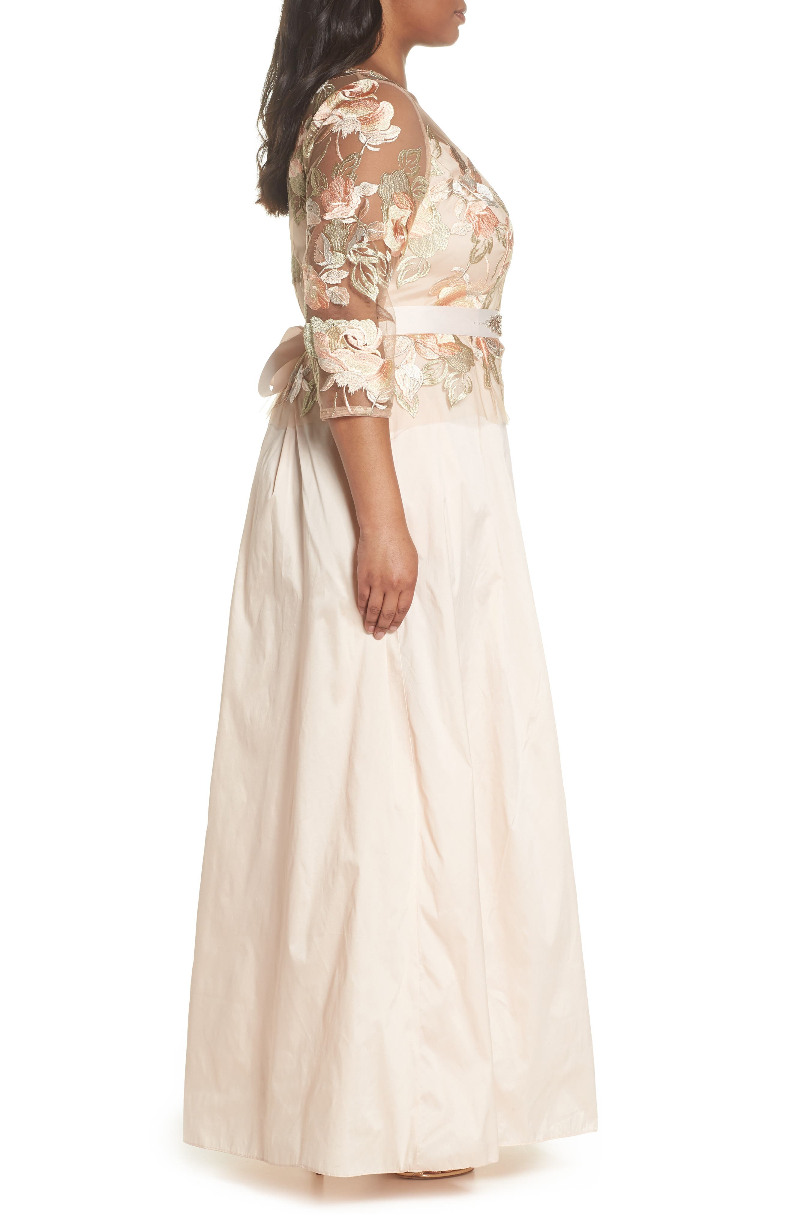 Floral Embroidered Gown,                             Alternate thumbnail 3, color,                             Pale Peach Multi