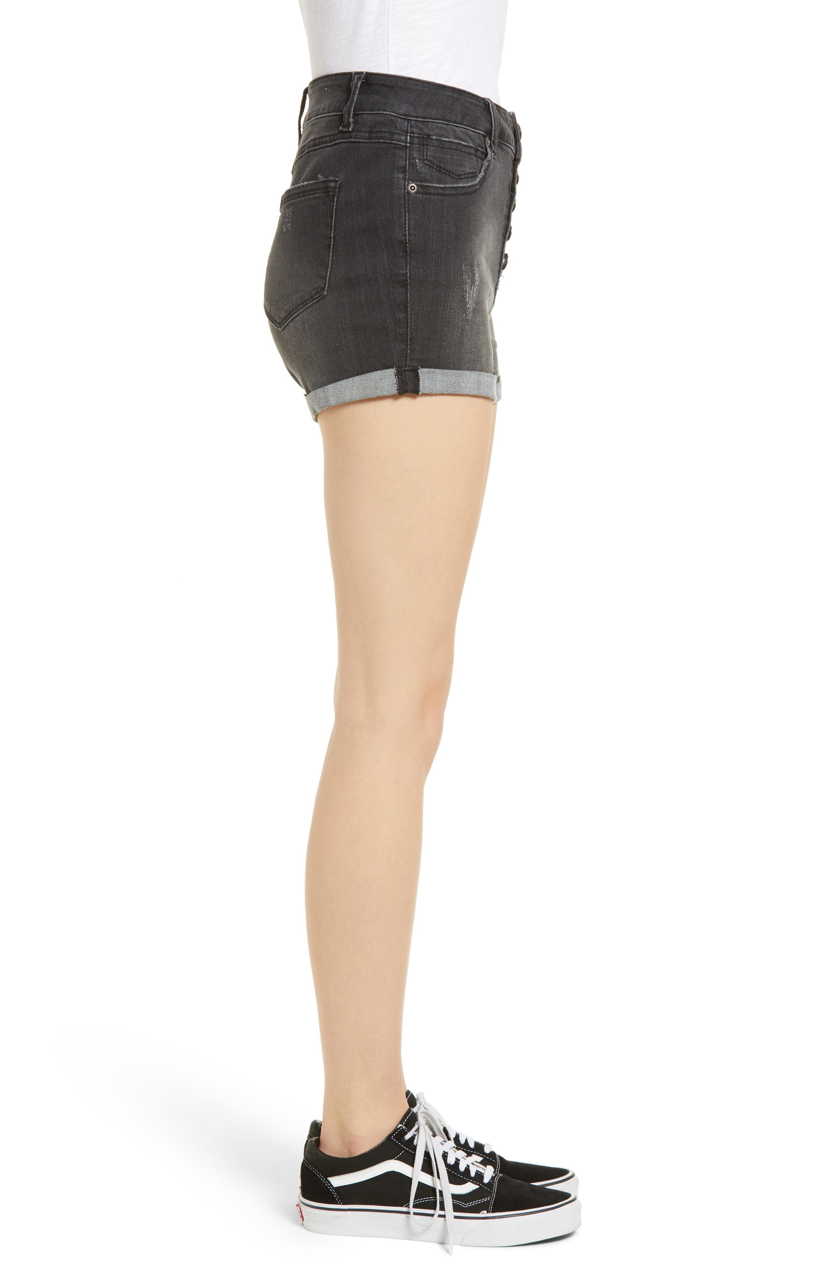 Cuffed Button Fly Denim Shorts,                             Alternate thumbnail 3, color,                             Bentley