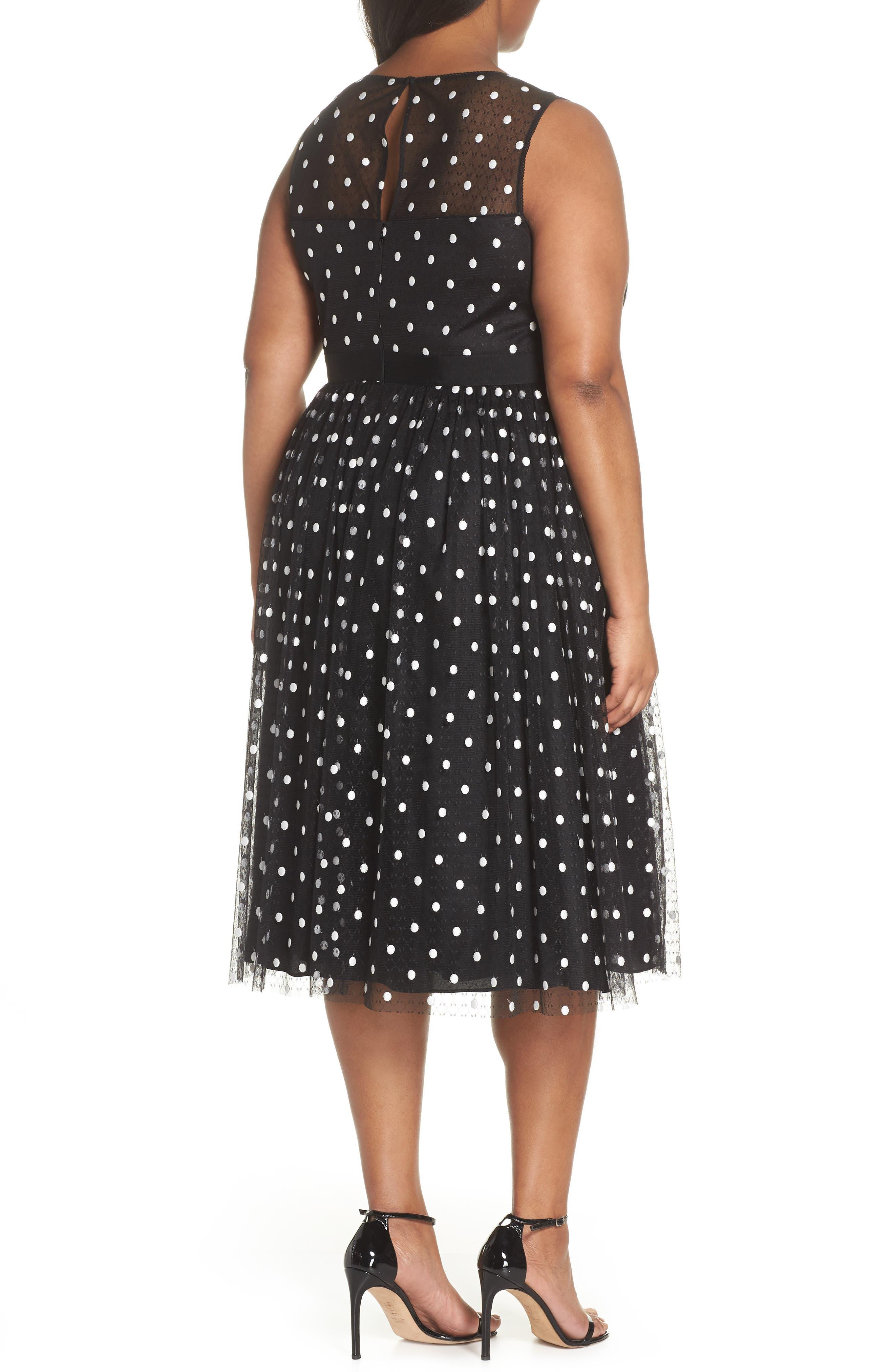 Illusion Fit & Flare Dress,                             Alternate thumbnail 2, color,                             Black White