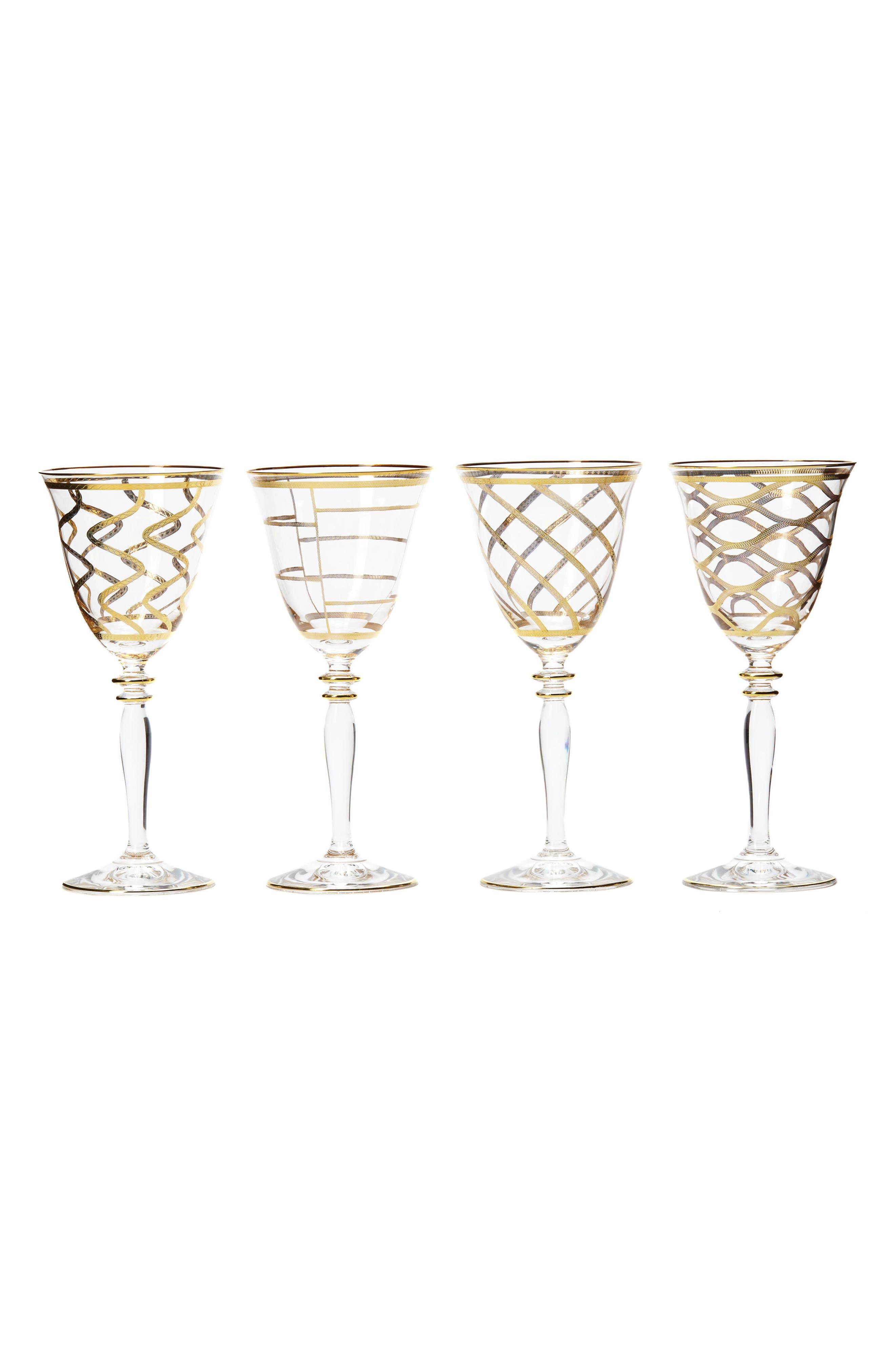 Elegante Set of 4 Wine Glasses,                             Main thumbnail 1, color,                             Gold