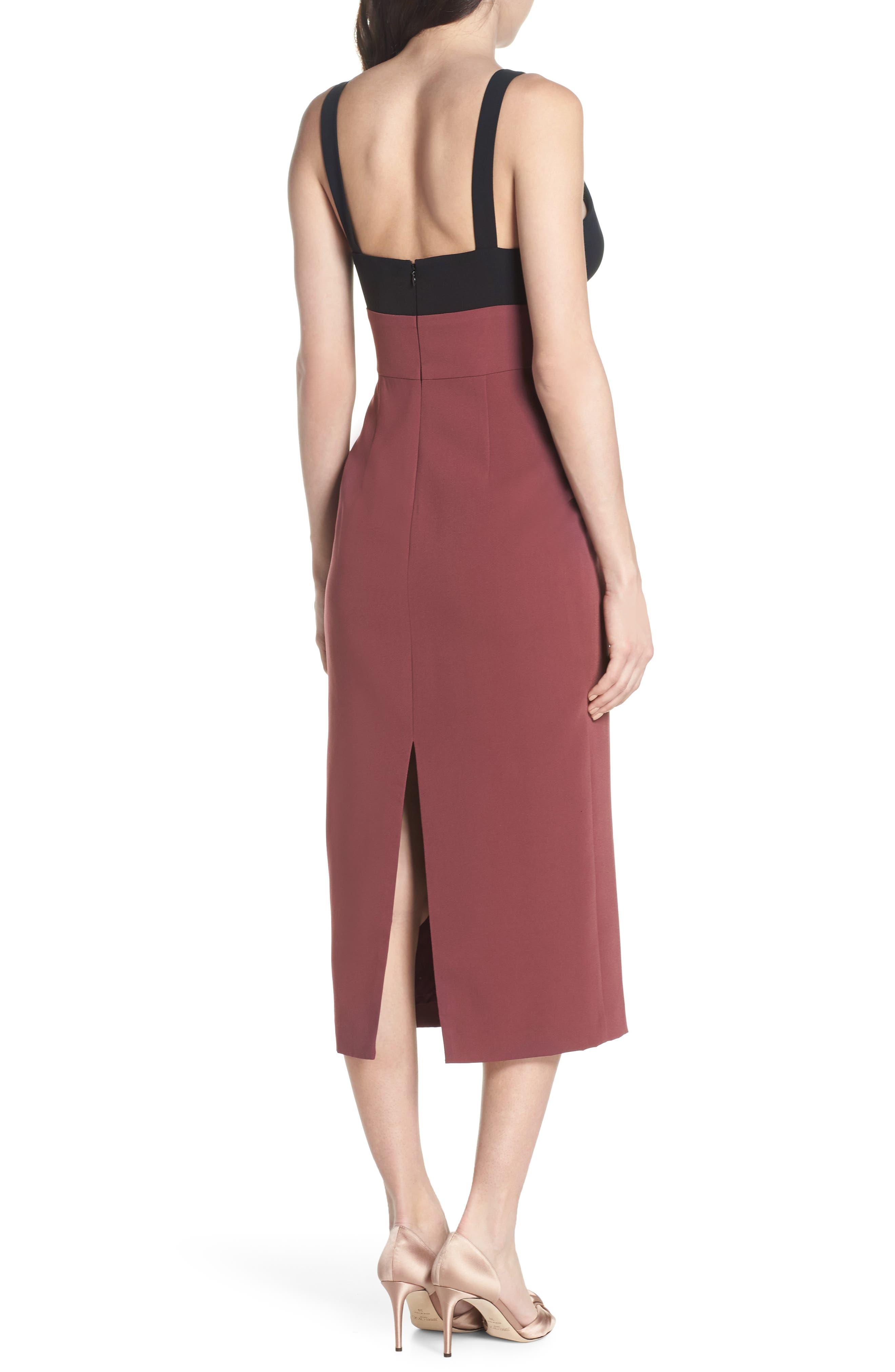 Colorblock Midi Dress,                             Alternate thumbnail 2, color,                             Black/ Pandora