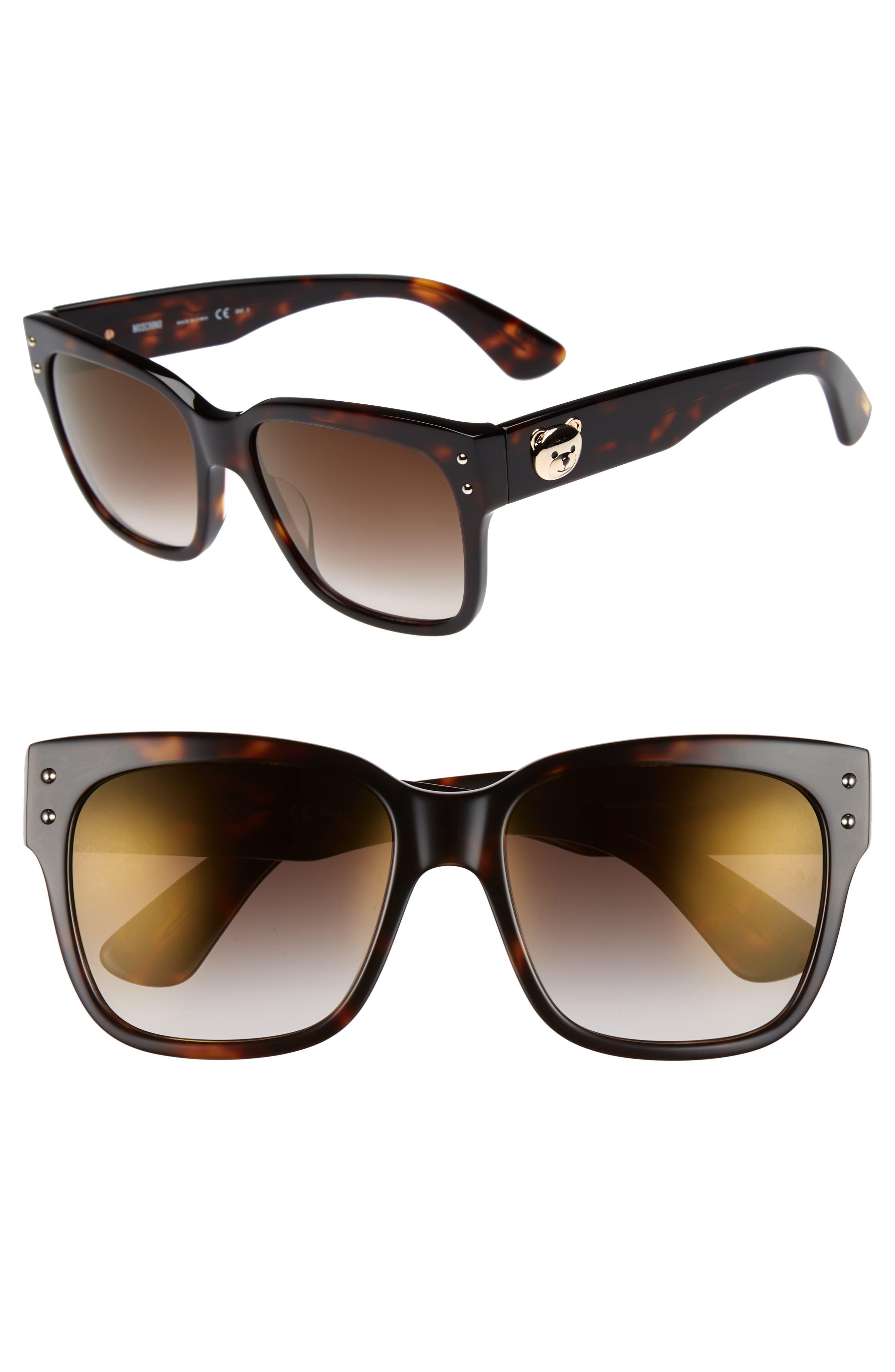 56mm Gradient Lens Sunglasses,                         Main,                         color, Dark Havana