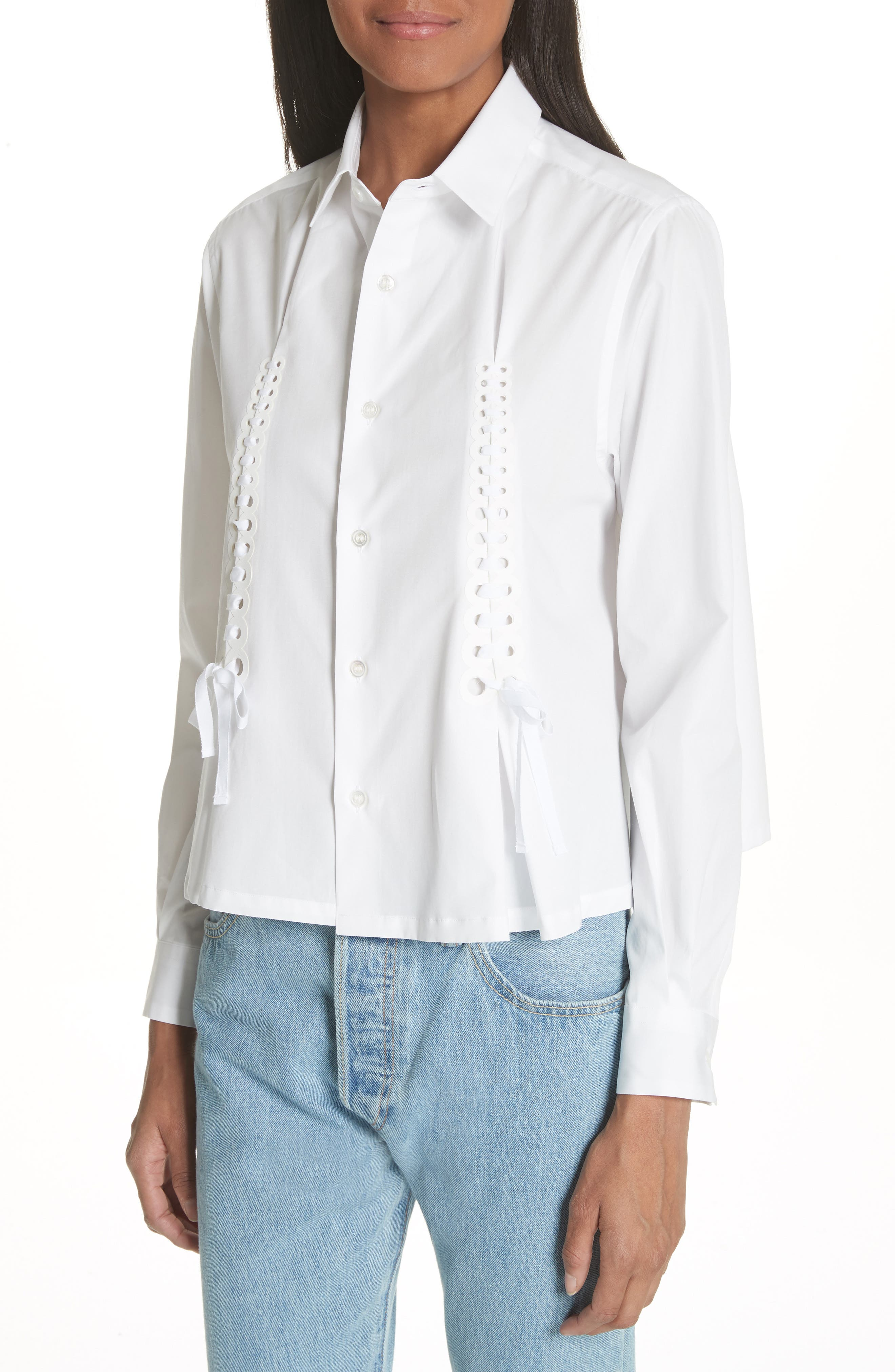 Ribbon Tie Blouse,                             Alternate thumbnail 4, color,                             White