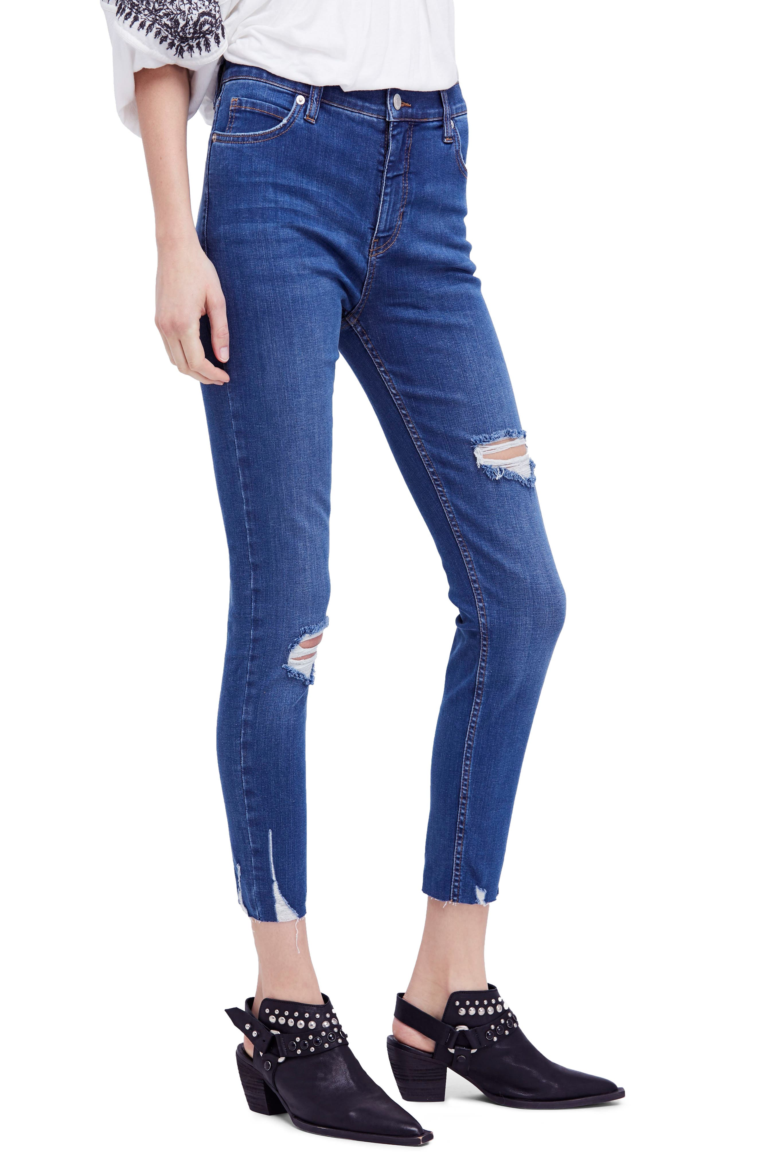 Ripped Crop Skinny Jeans,                             Main thumbnail 1, color,                             Blue