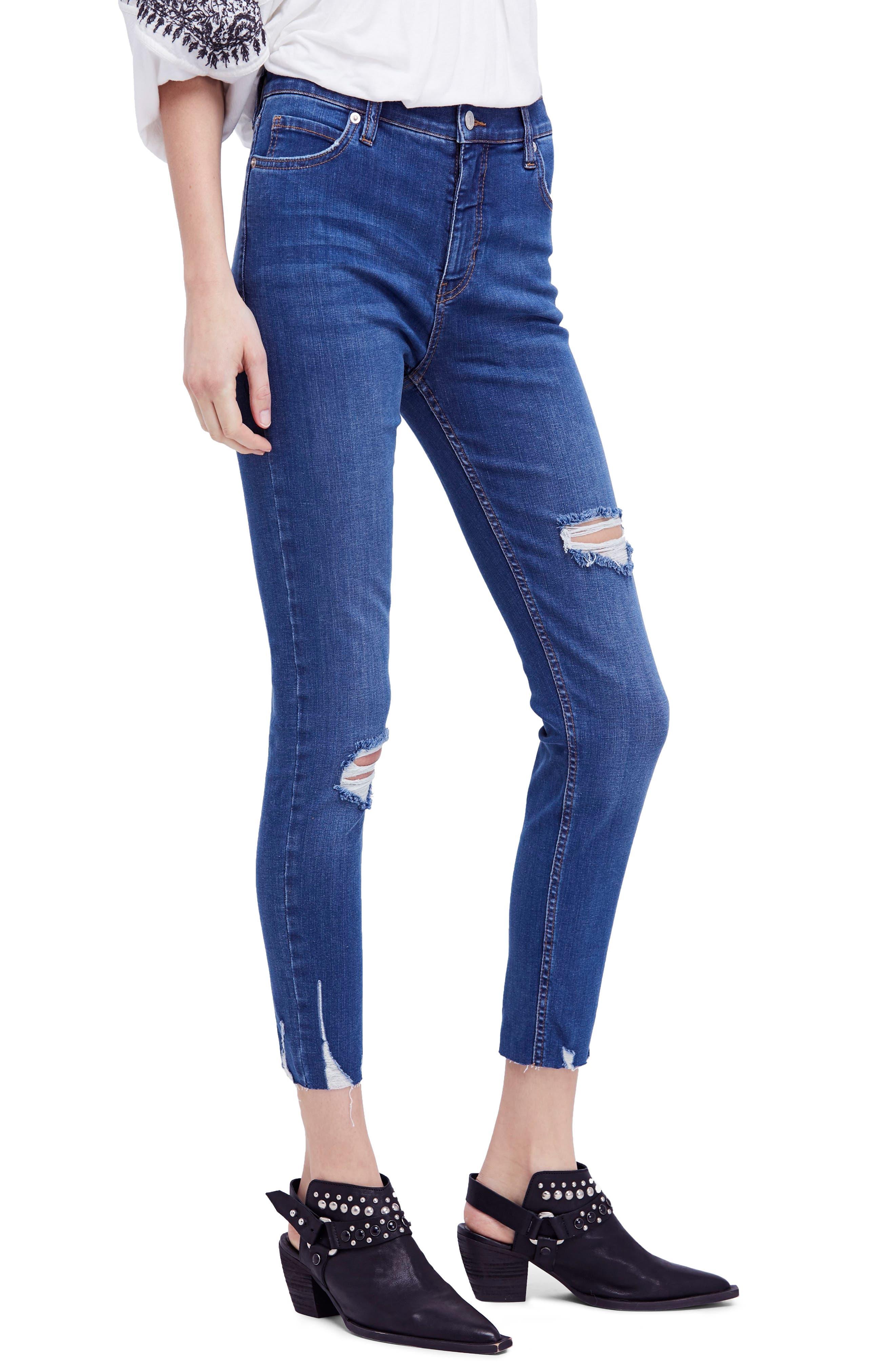 Free People Ripped Crop Skinny Jeans