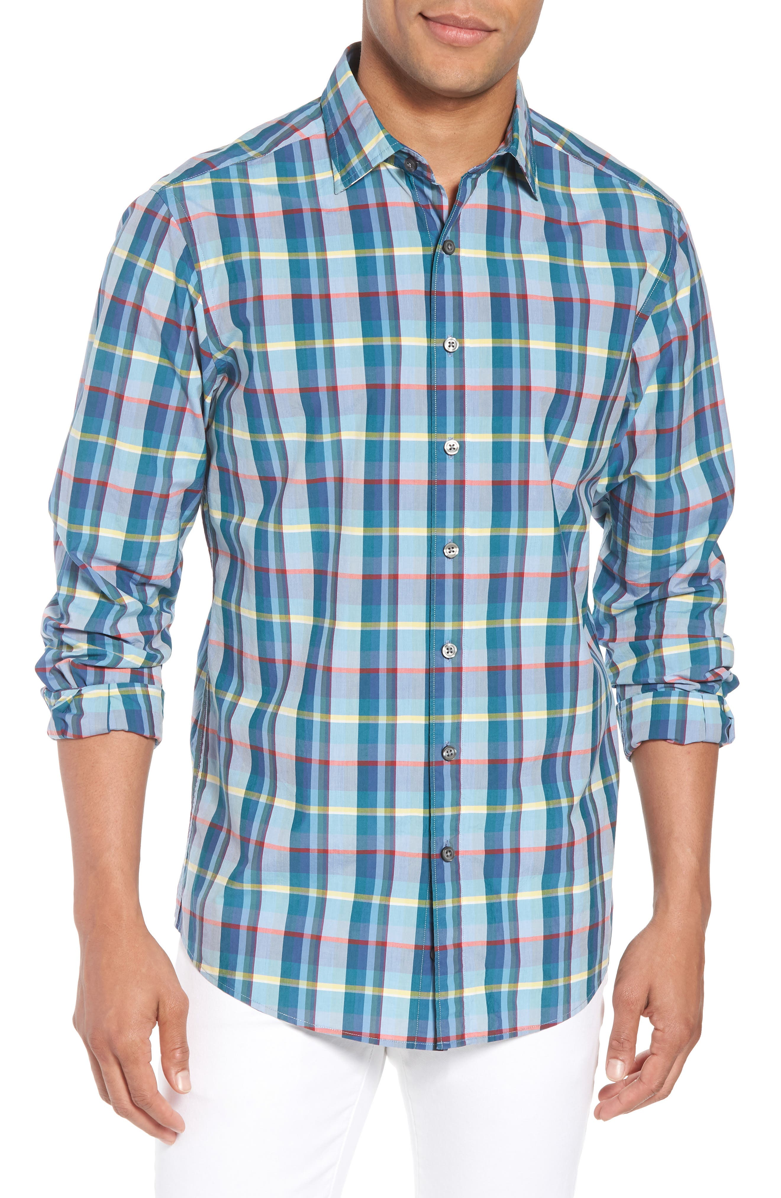 Stockyard Bay Sports Fit Plaid Sport Shirt,                             Main thumbnail 1, color,                             Forest
