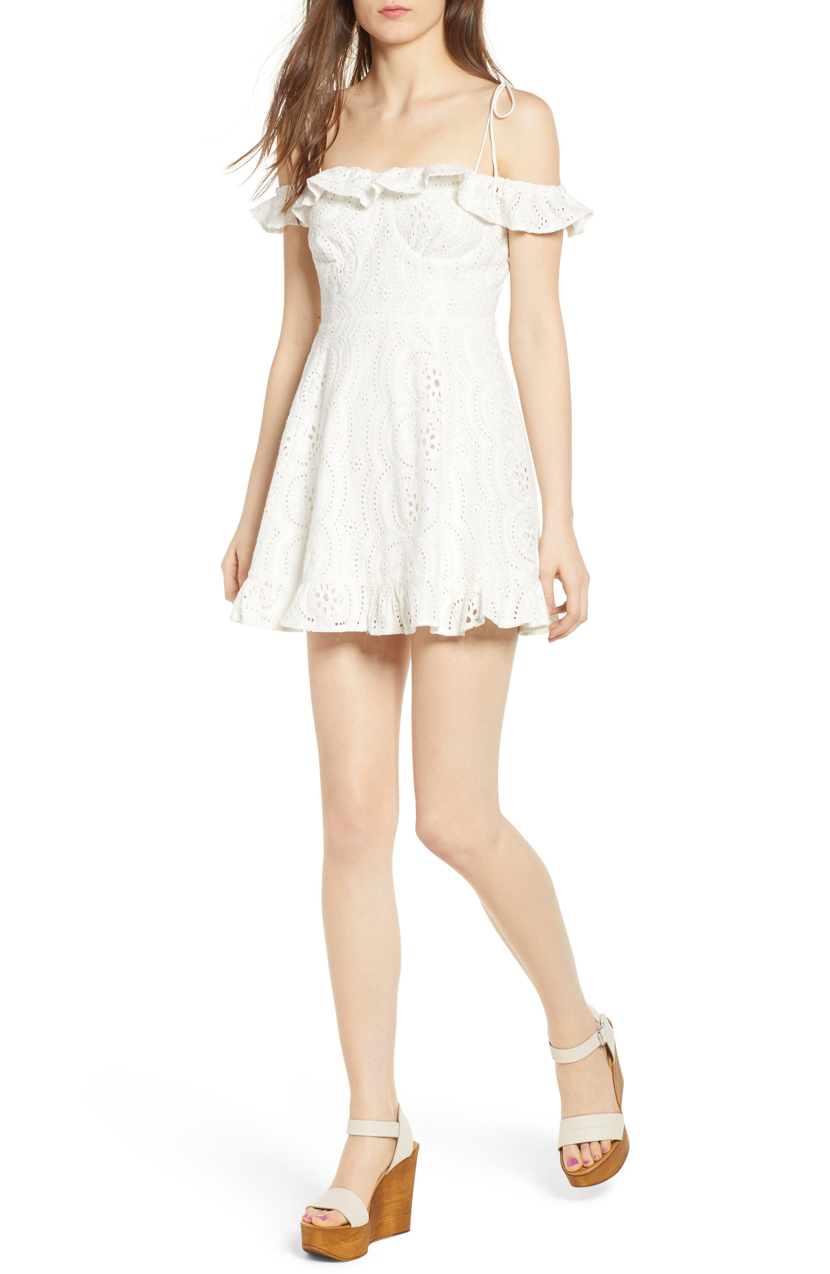 Kate Lace Minidress,                         Main,                         color, Ivory
