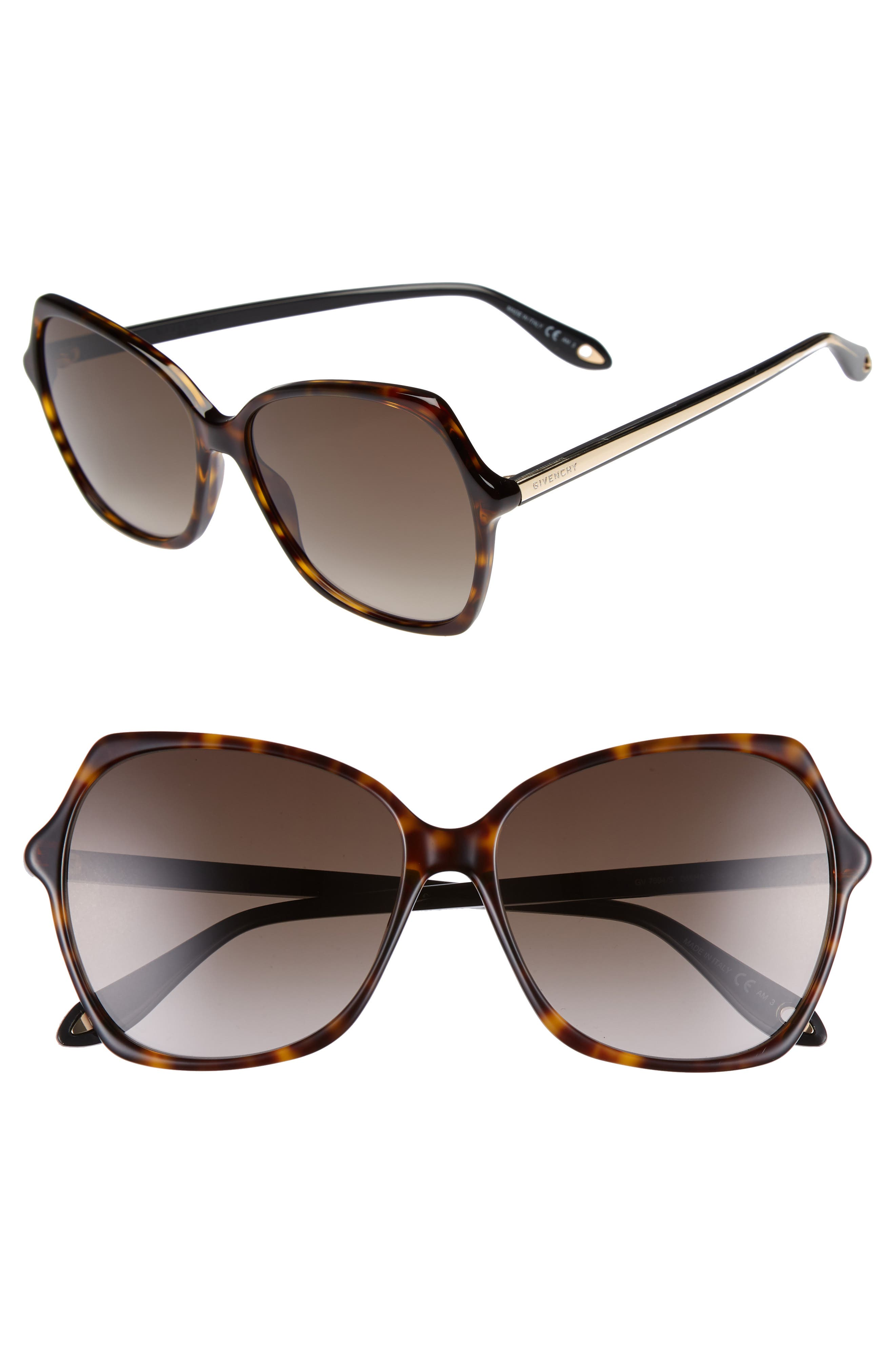 59mm Butterfly Sunglasses,                         Main,                         color, Dark Havana