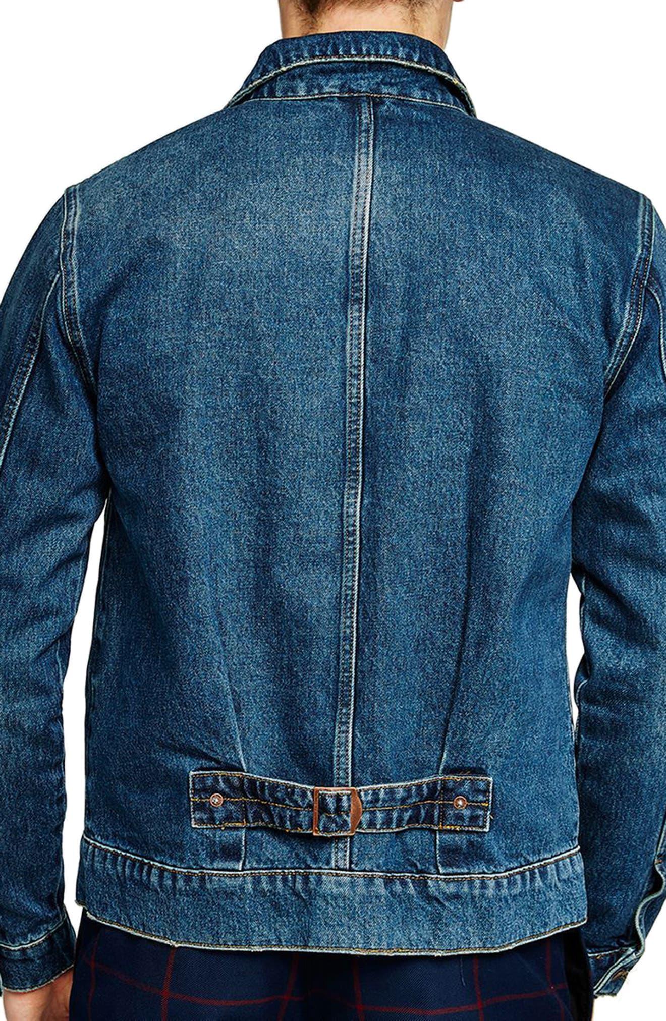 Cinch Back Denim Jacket,                             Alternate thumbnail 2, color,                             Mid Blue