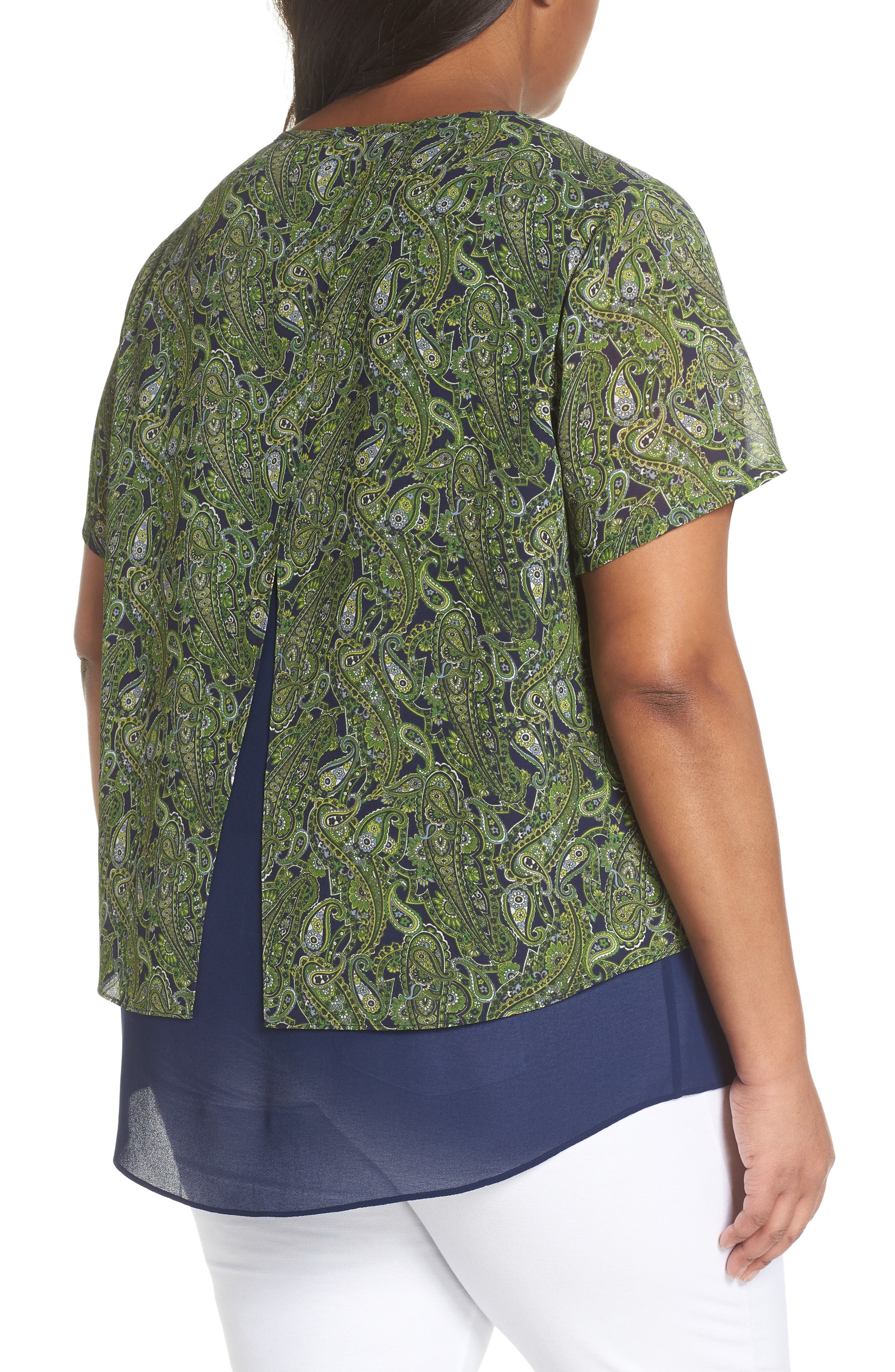 Paisley Paradise Layered Top,                             Alternate thumbnail 2, color,                             True Navy/ Green Apple Mu