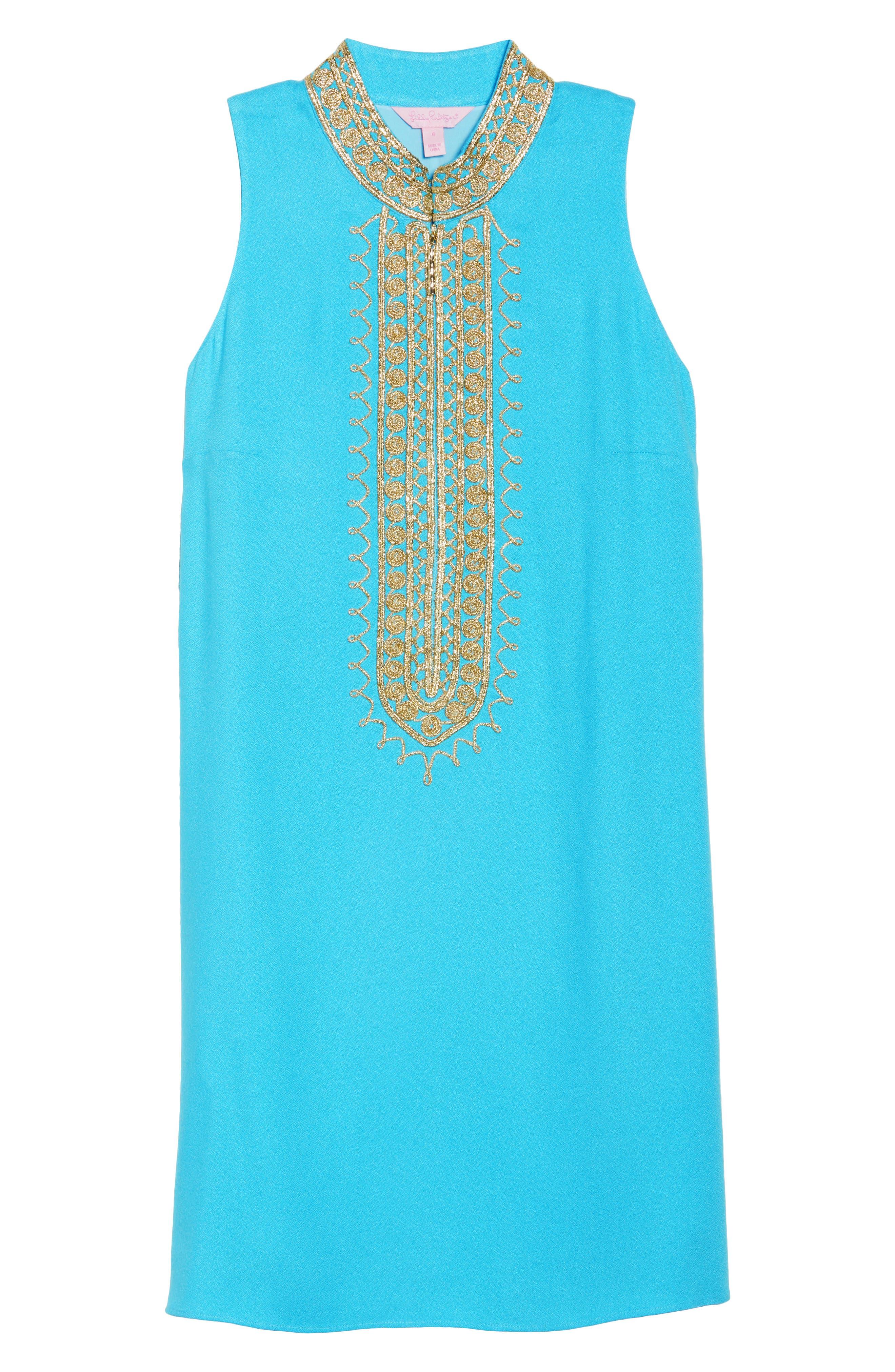Jane Embroidered Shift Dress,                             Alternate thumbnail 7, color,                             Blue Ibiza