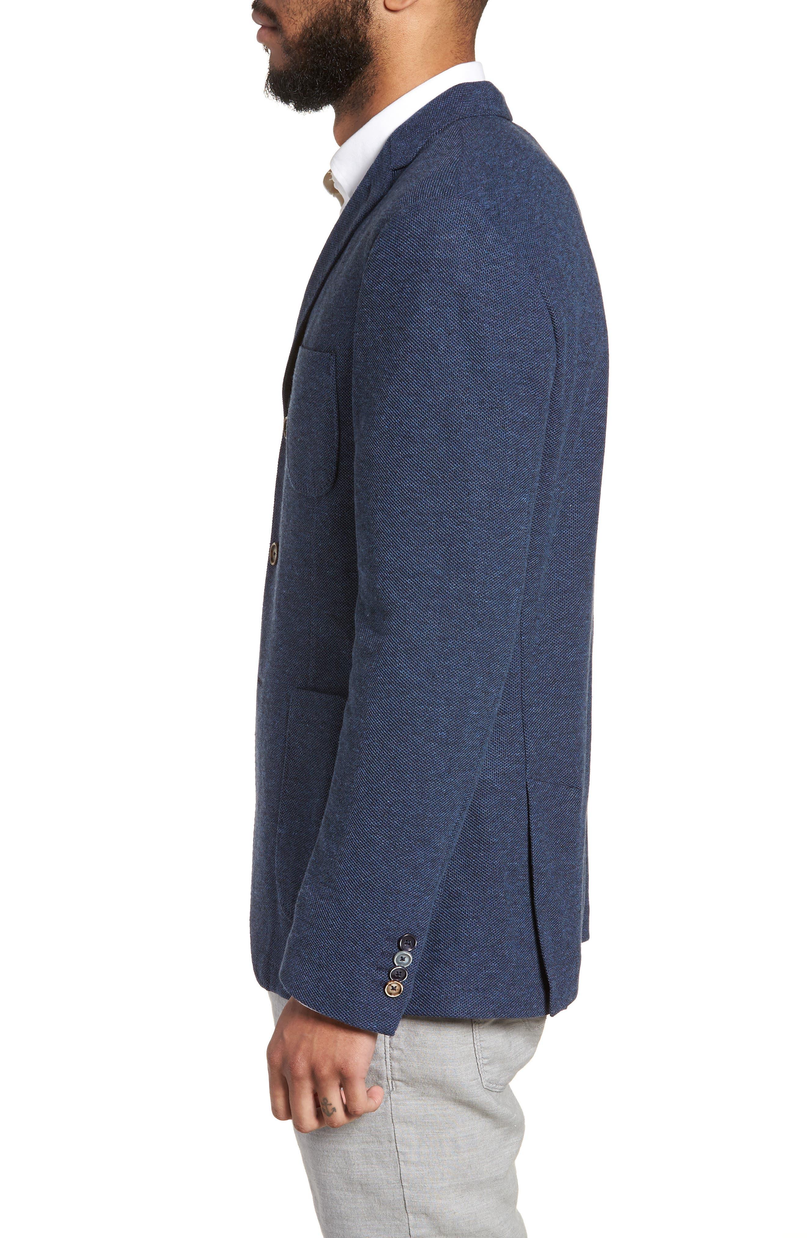 Trim Fit Cotton Blend Blazer,                             Alternate thumbnail 3, color,                             Mid Blue