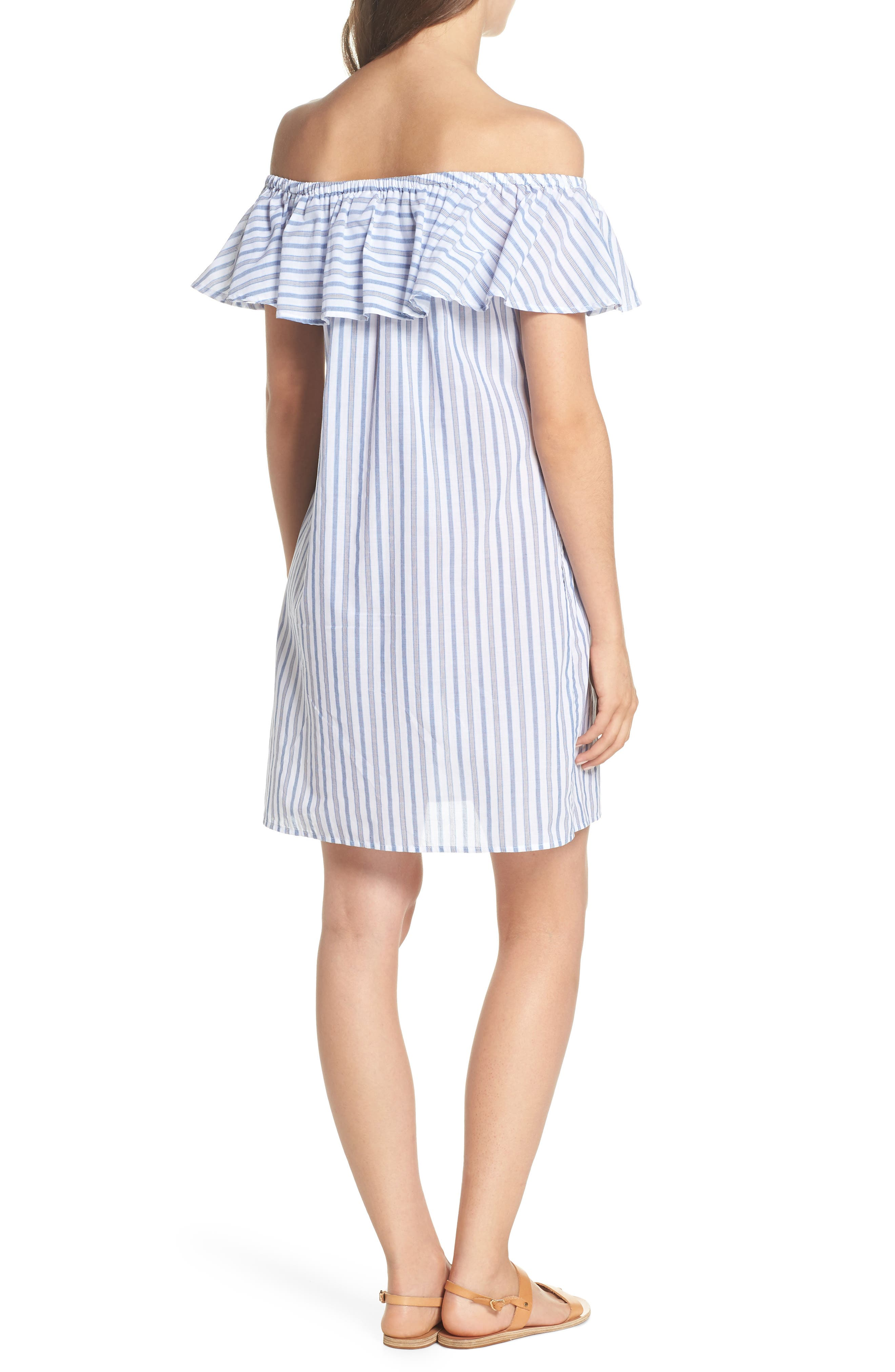 Ticking Stripe Off the Shoulder Cover-Up Dress,                             Alternate thumbnail 2, color,                             White