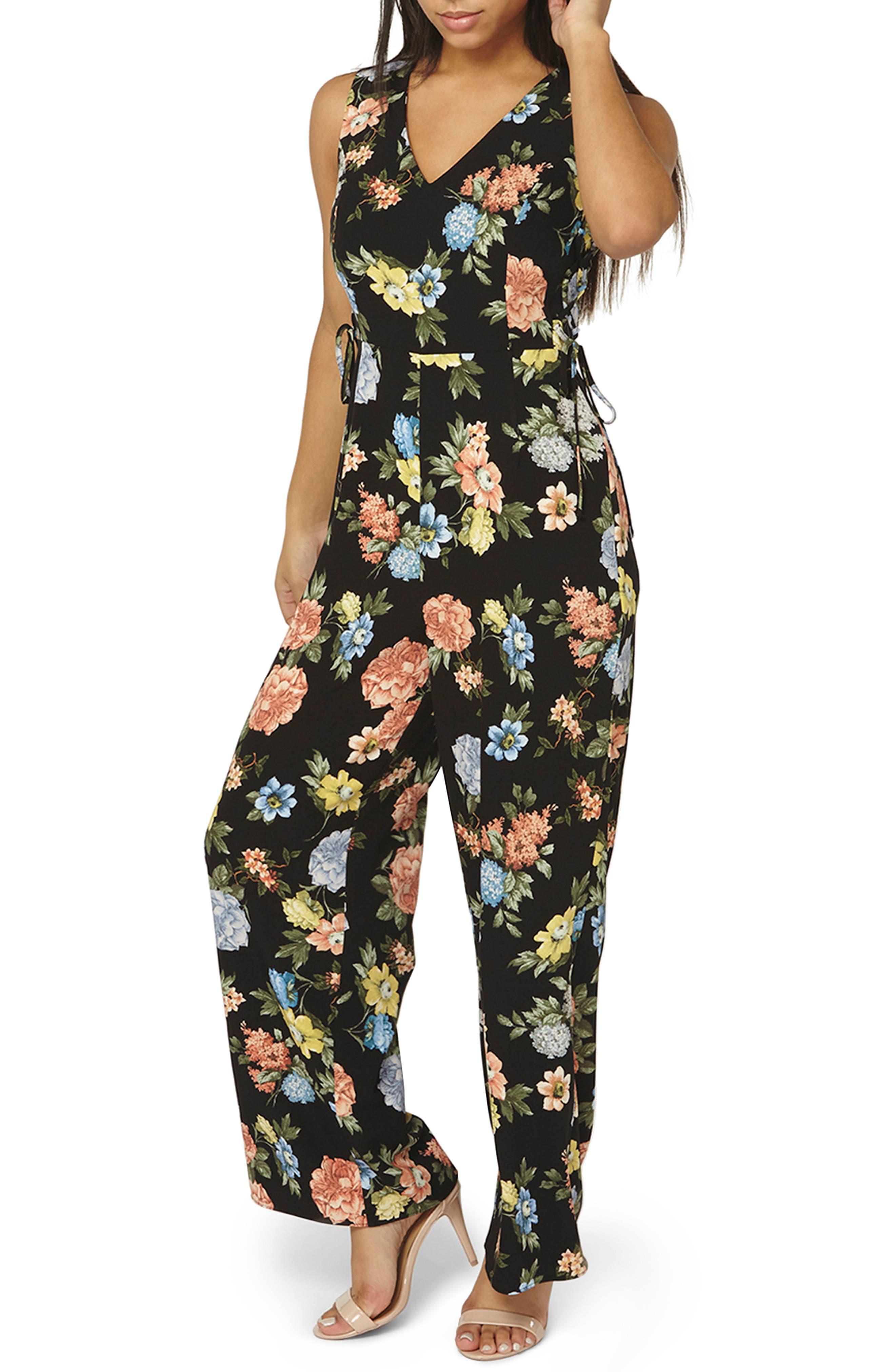 Floral Lace-Up Jumpsuit,                         Main,                         color, Black