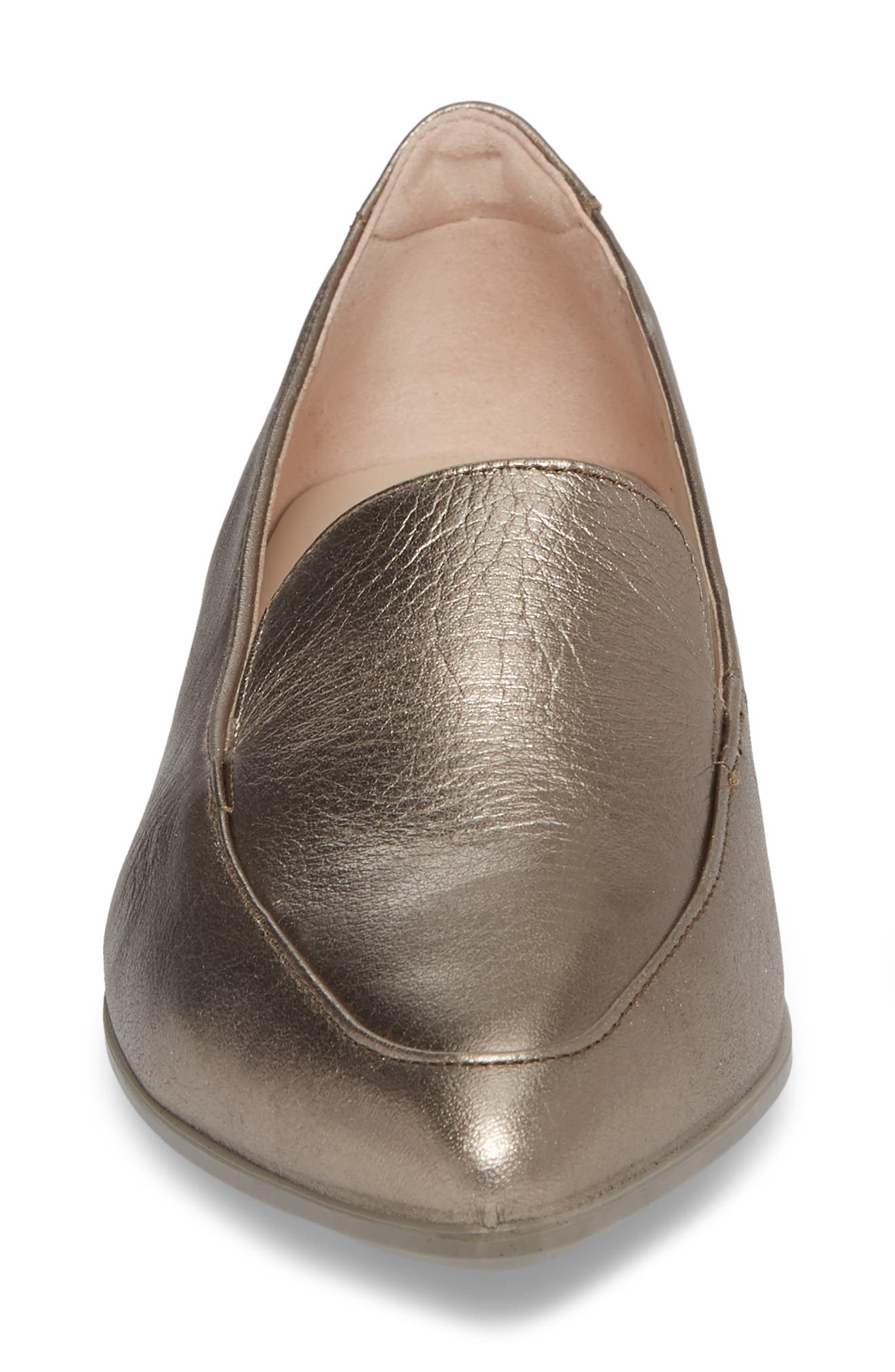 Shape Pointy Ballerina II Flat,                             Alternate thumbnail 4, color,                             Warm Grey Leather