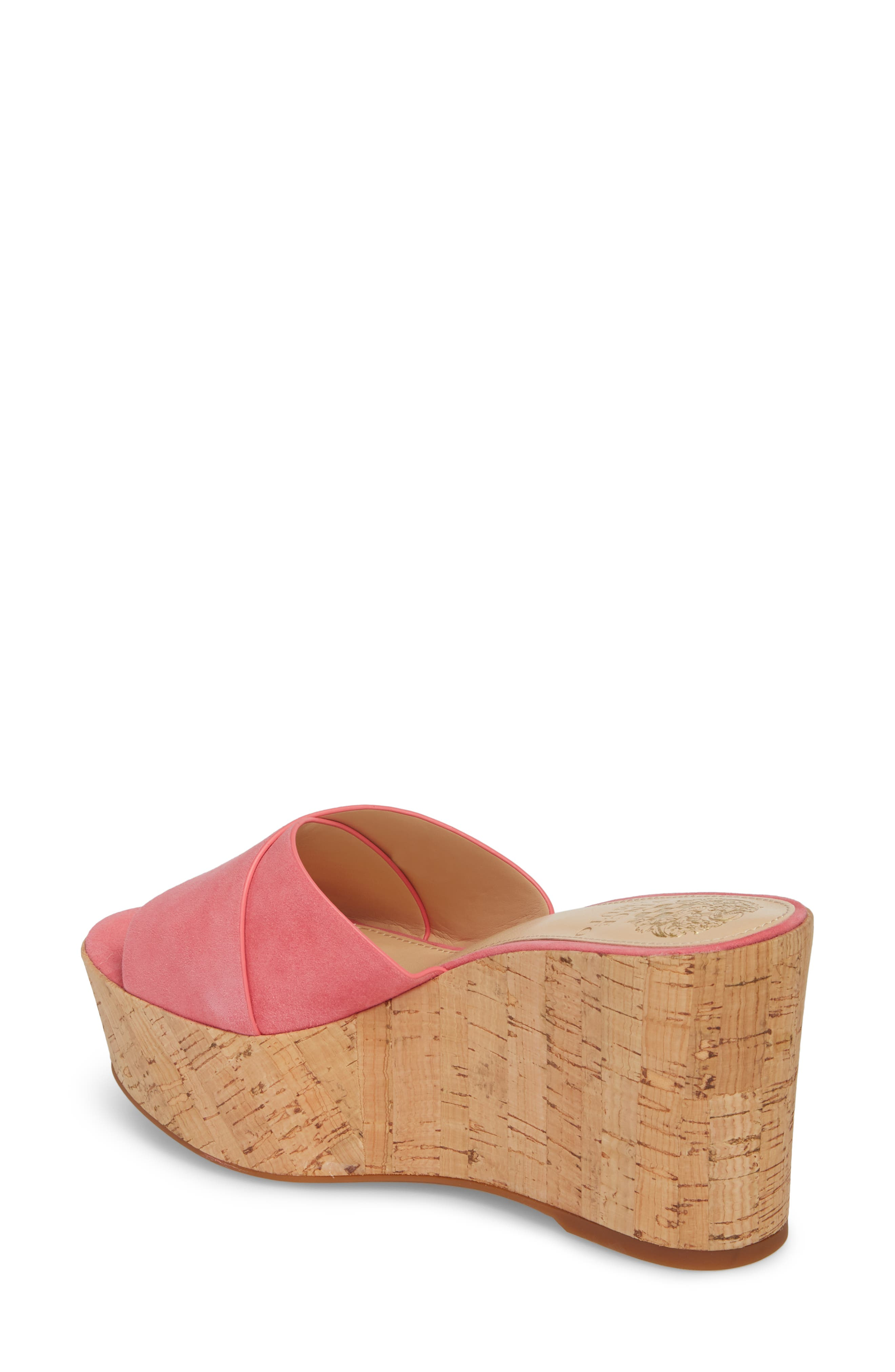 Kessina Platform Wedge Mule,                             Alternate thumbnail 2, color,                             Soft Pink Suede
