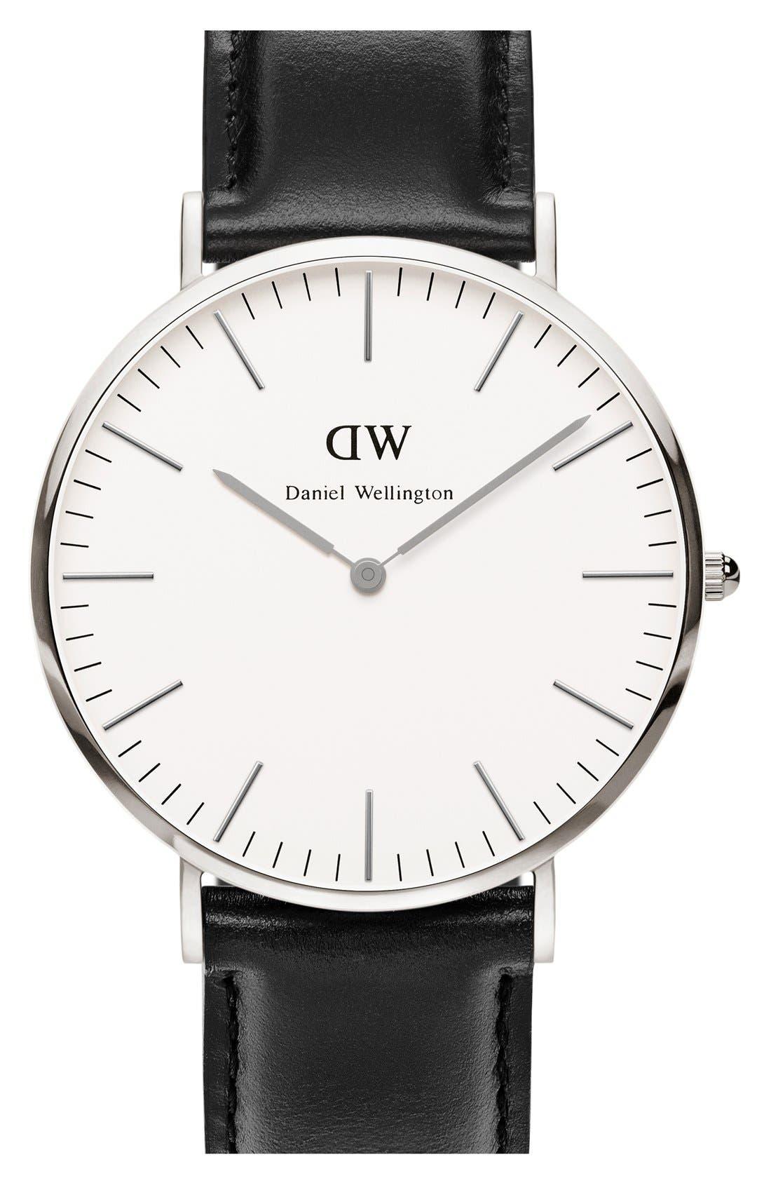 Alternate Image 1 Selected - Daniel Wellington 'Classic Sheffield' Leather Strap Watch, 40mm