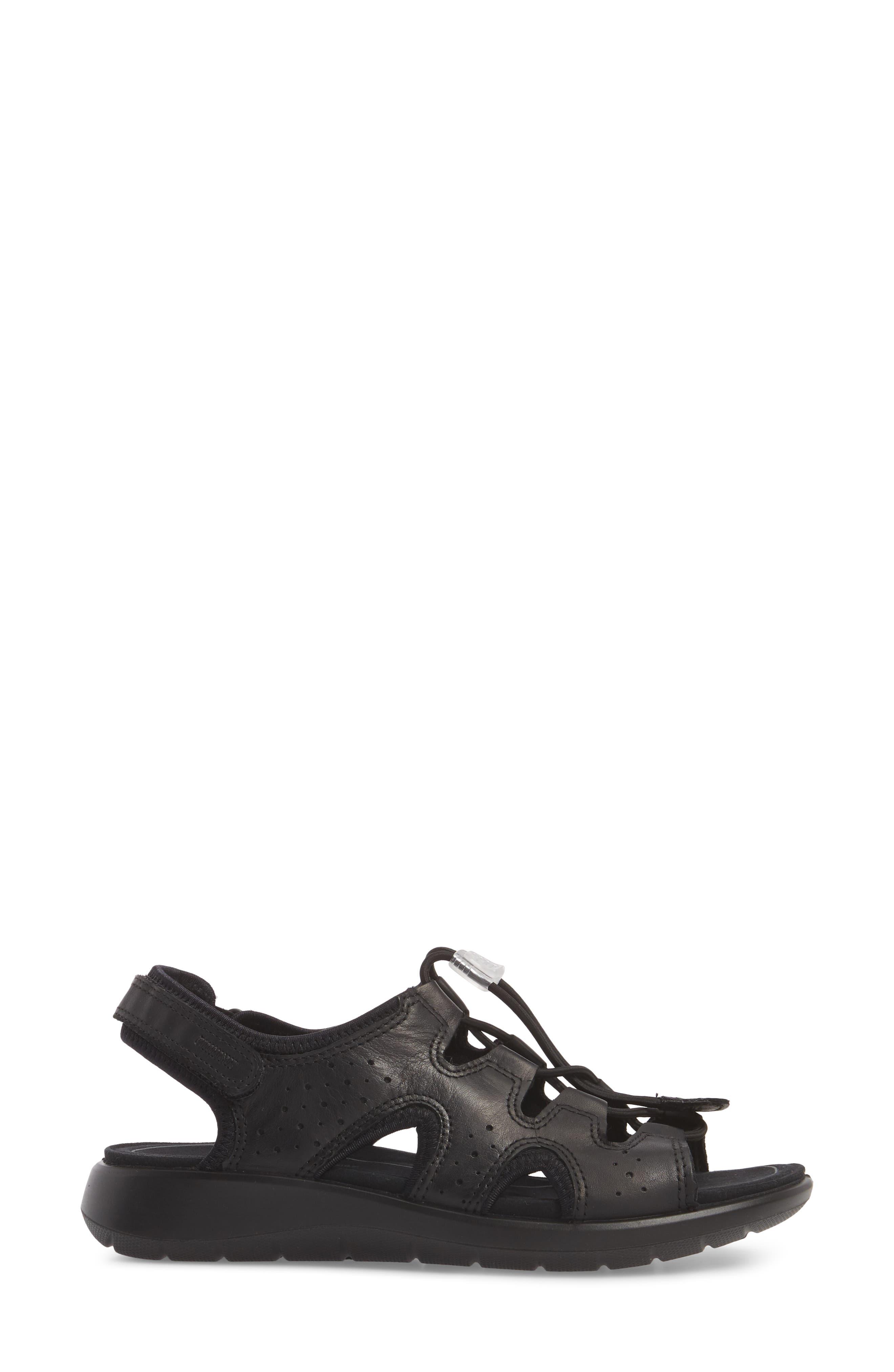 Bluma Toggle Sandal,                             Alternate thumbnail 3, color,                             Black Leather