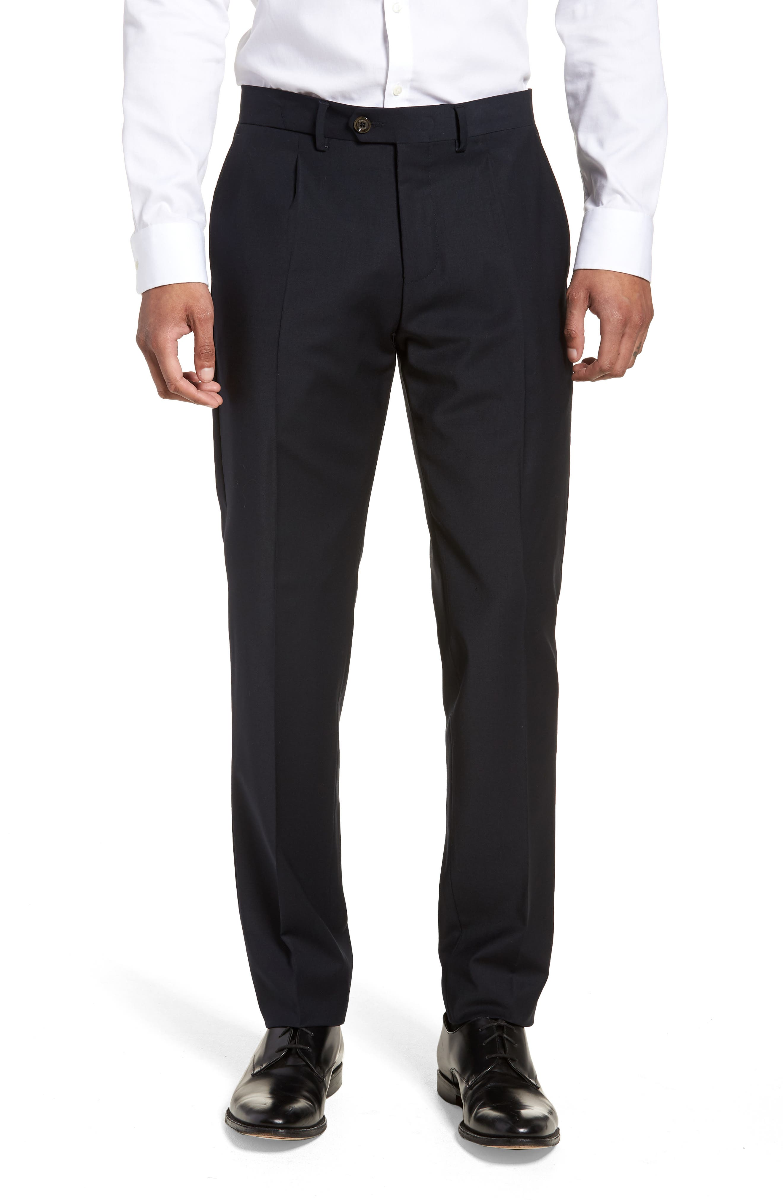 Main Image - Eleventy Pleat Front Stretch Solid Wool Trousers