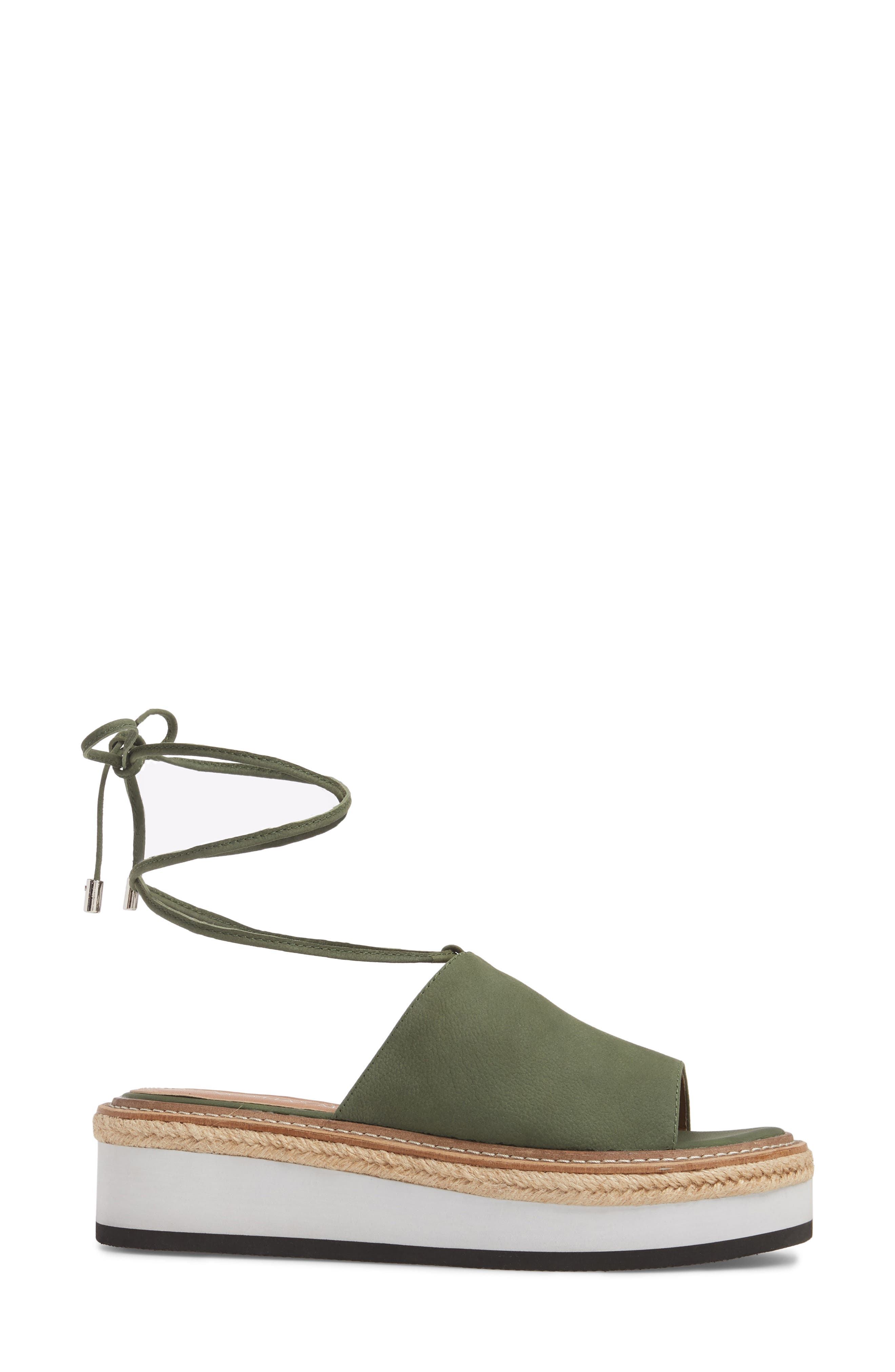 Nickel Platform Sandal,                             Alternate thumbnail 3, color,                             Khaki Nubuck Leather