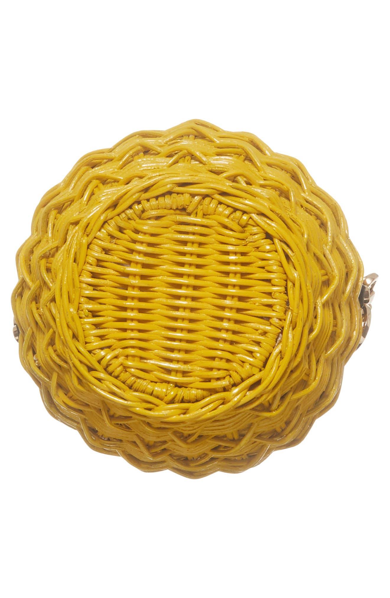 MICHAEL Michael Kors Wicker Pineapple Shoulder Bag,                             Alternate thumbnail 6, color,                             Sunflower