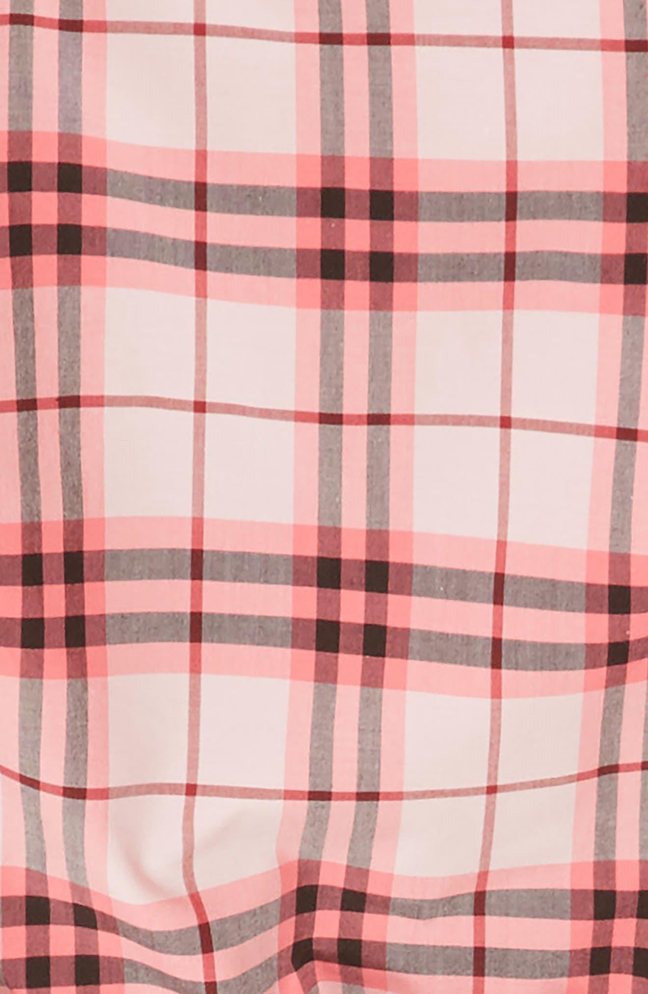 Mabel Check Dress,                             Alternate thumbnail 3, color,                             Bright Rose