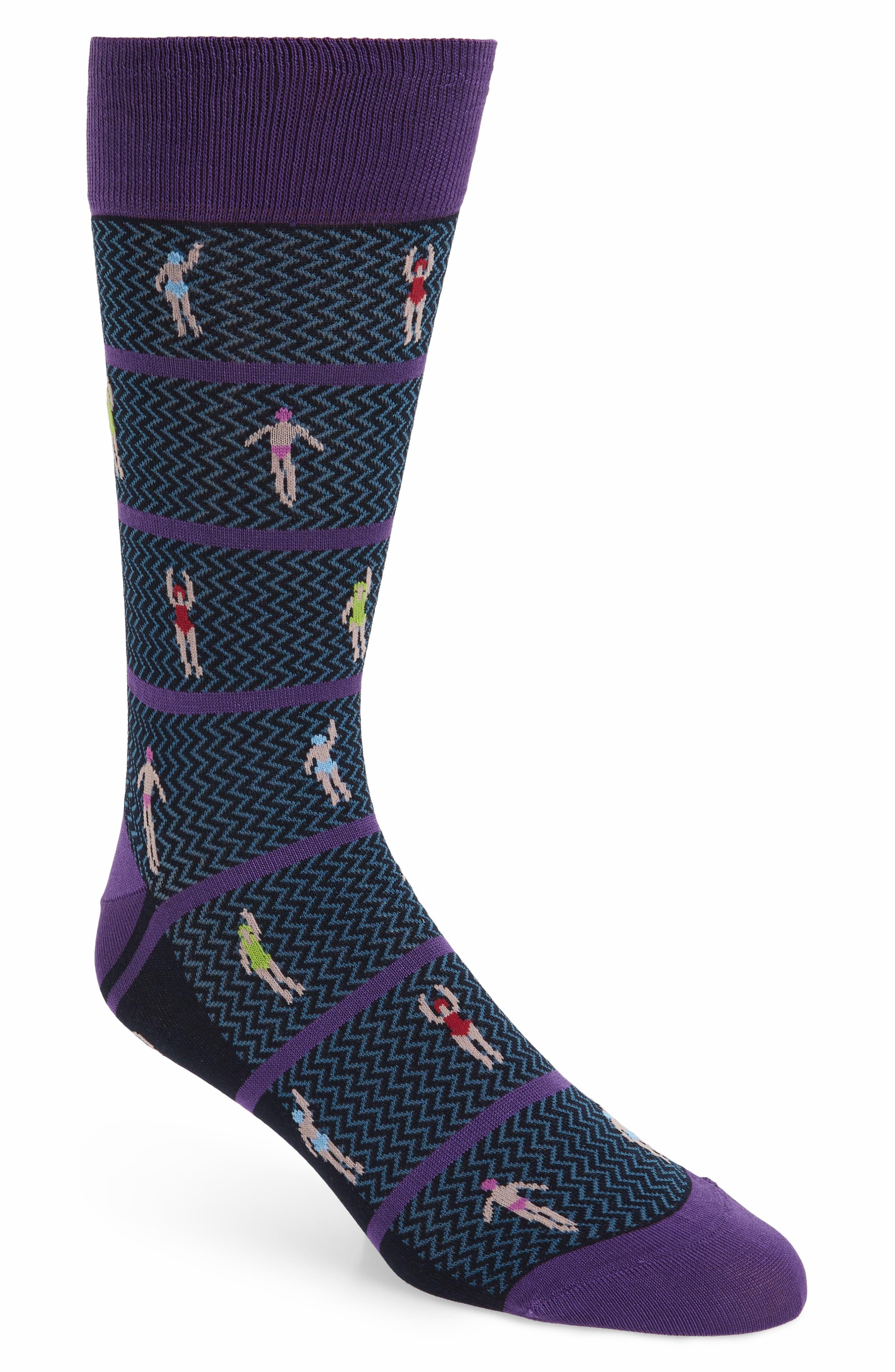 Cotton Blend Socks,                             Main thumbnail 1, color,                             Grape