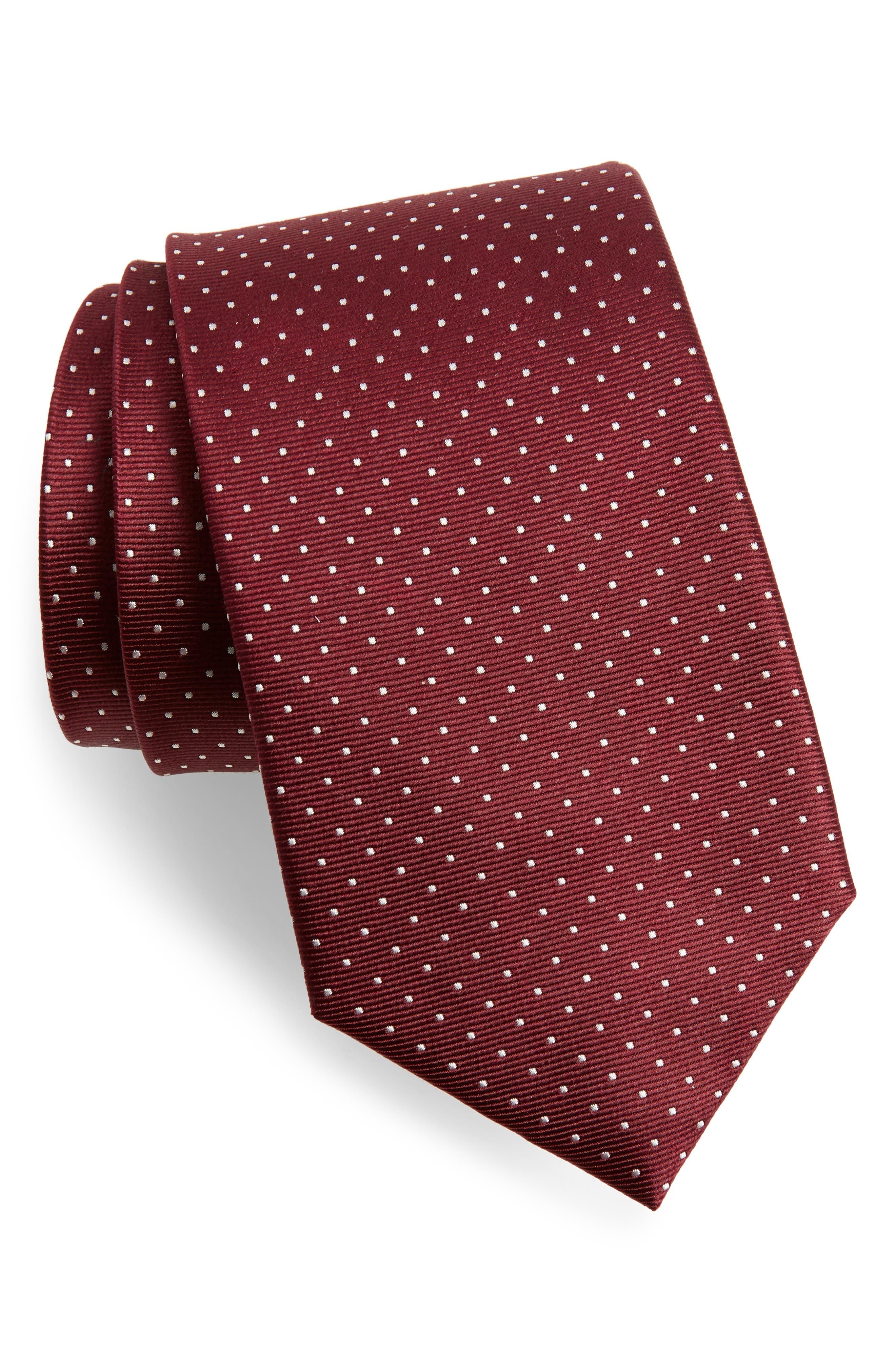 Mini Dots Silk Tie,                             Main thumbnail 1, color,                             Wine
